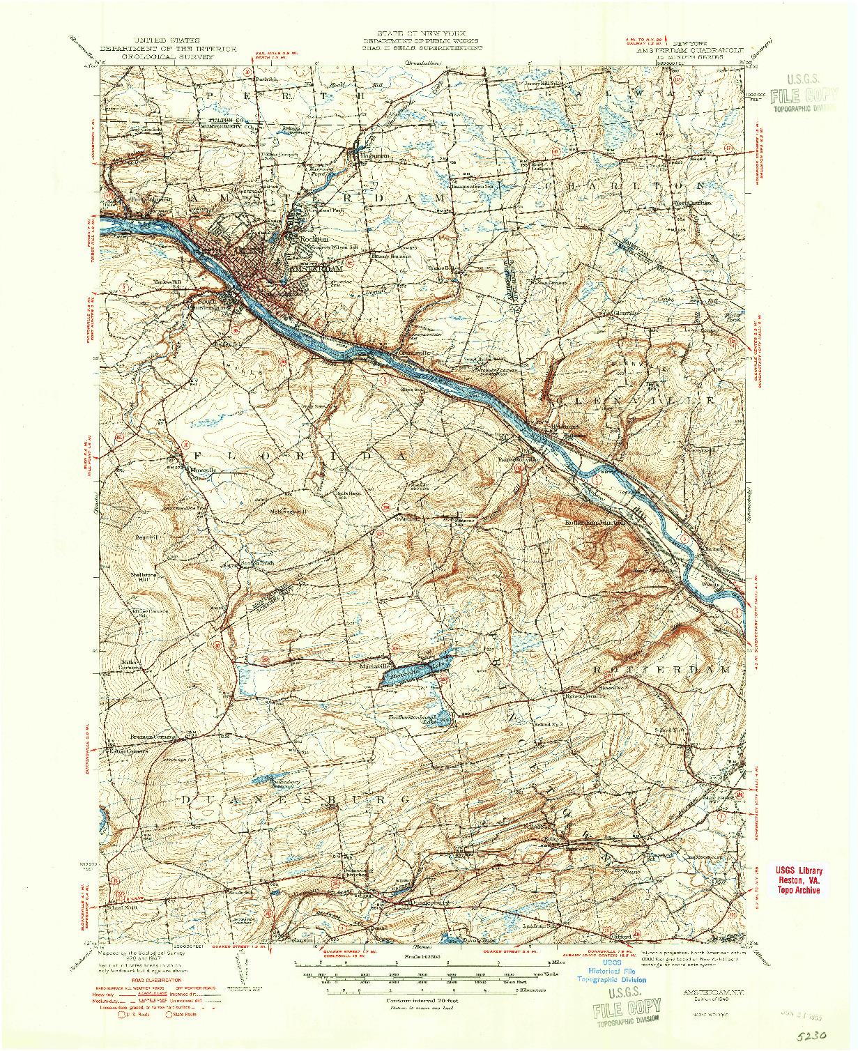 USGS 1:62500-SCALE QUADRANGLE FOR AMSTERDAM, NY 1949