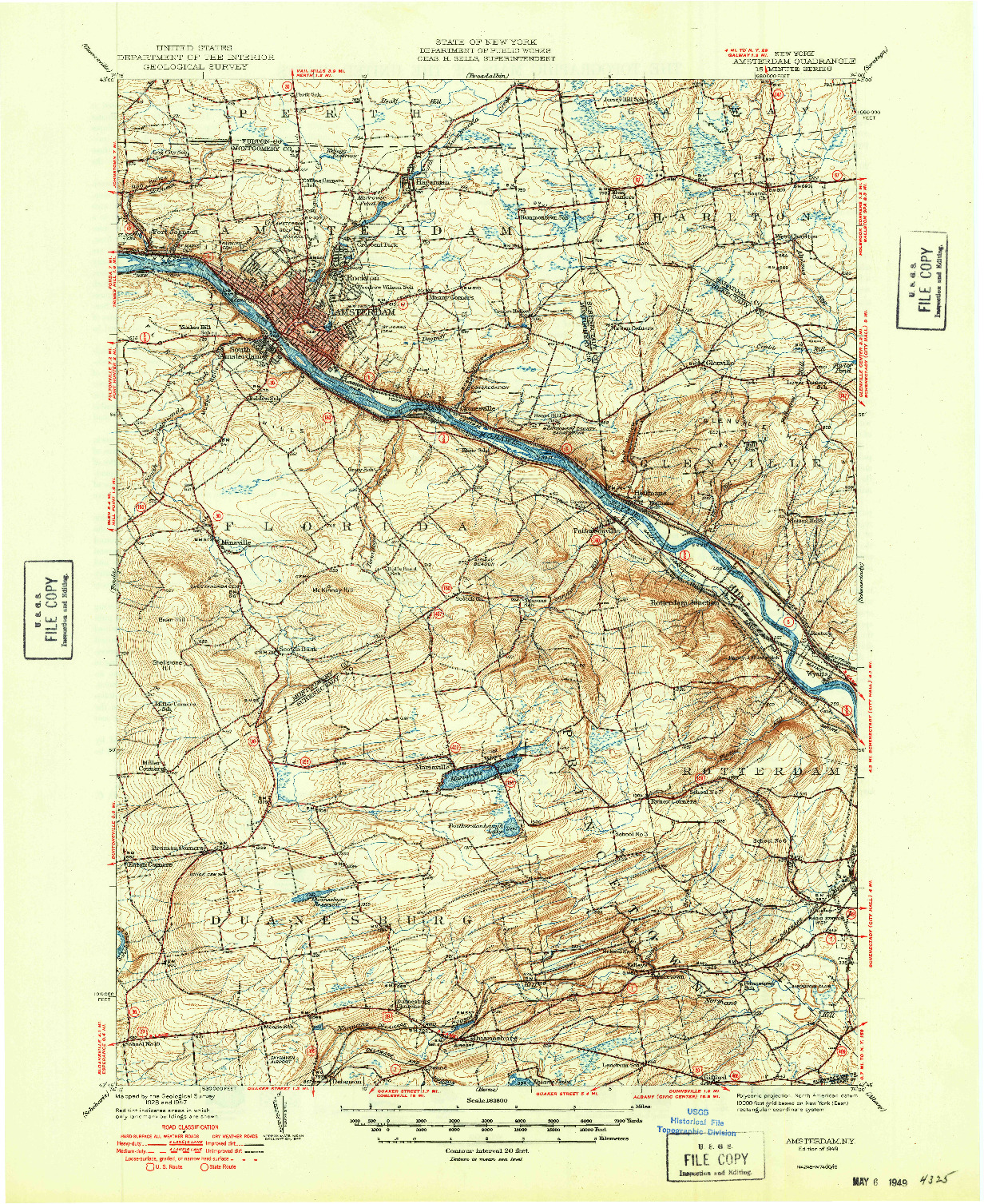 USGS 1:62500-SCALE QUADRANGLE FOR AMSTERDAM, NY 1949