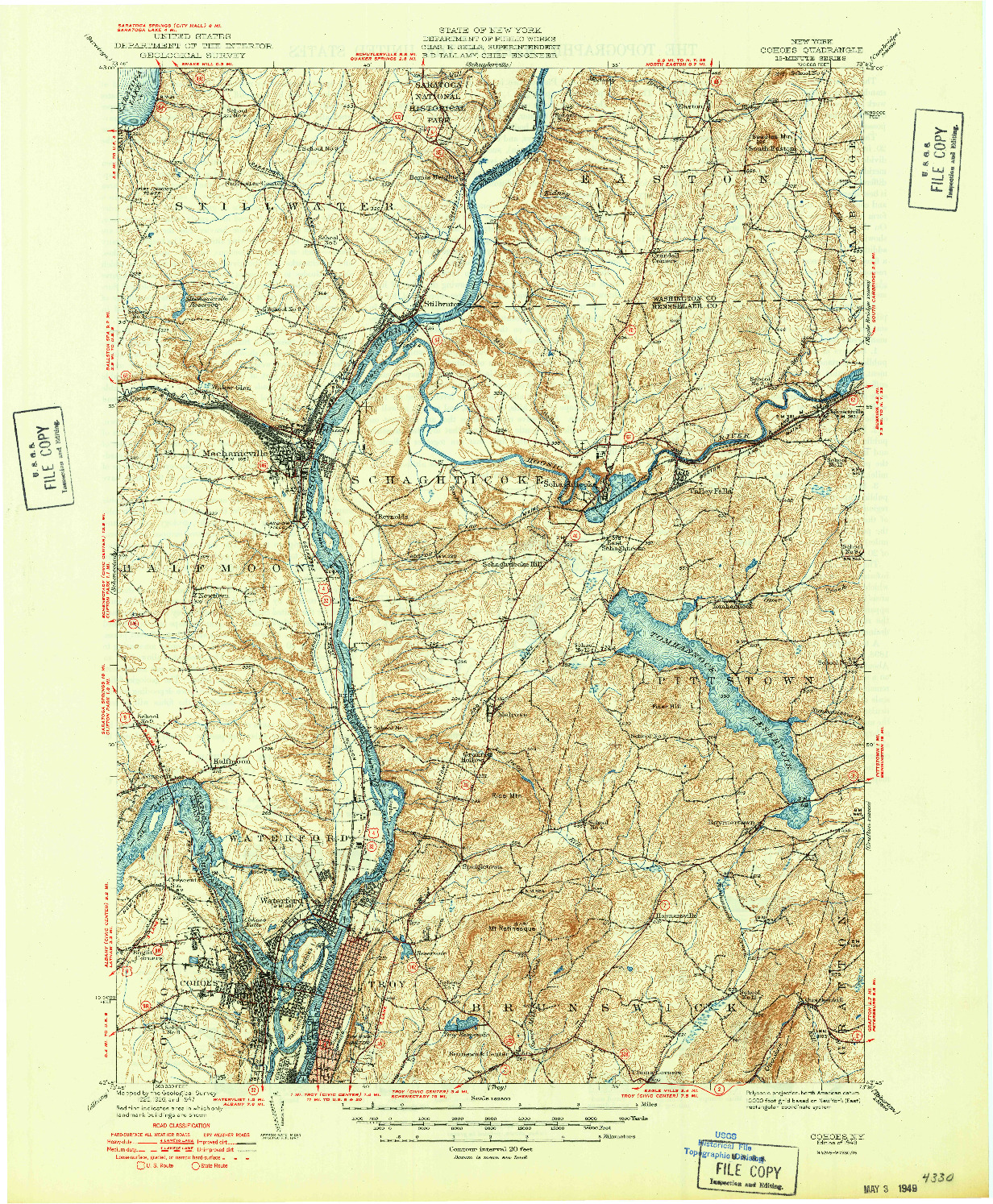 USGS 1:62500-SCALE QUADRANGLE FOR COHOES, NY 1949