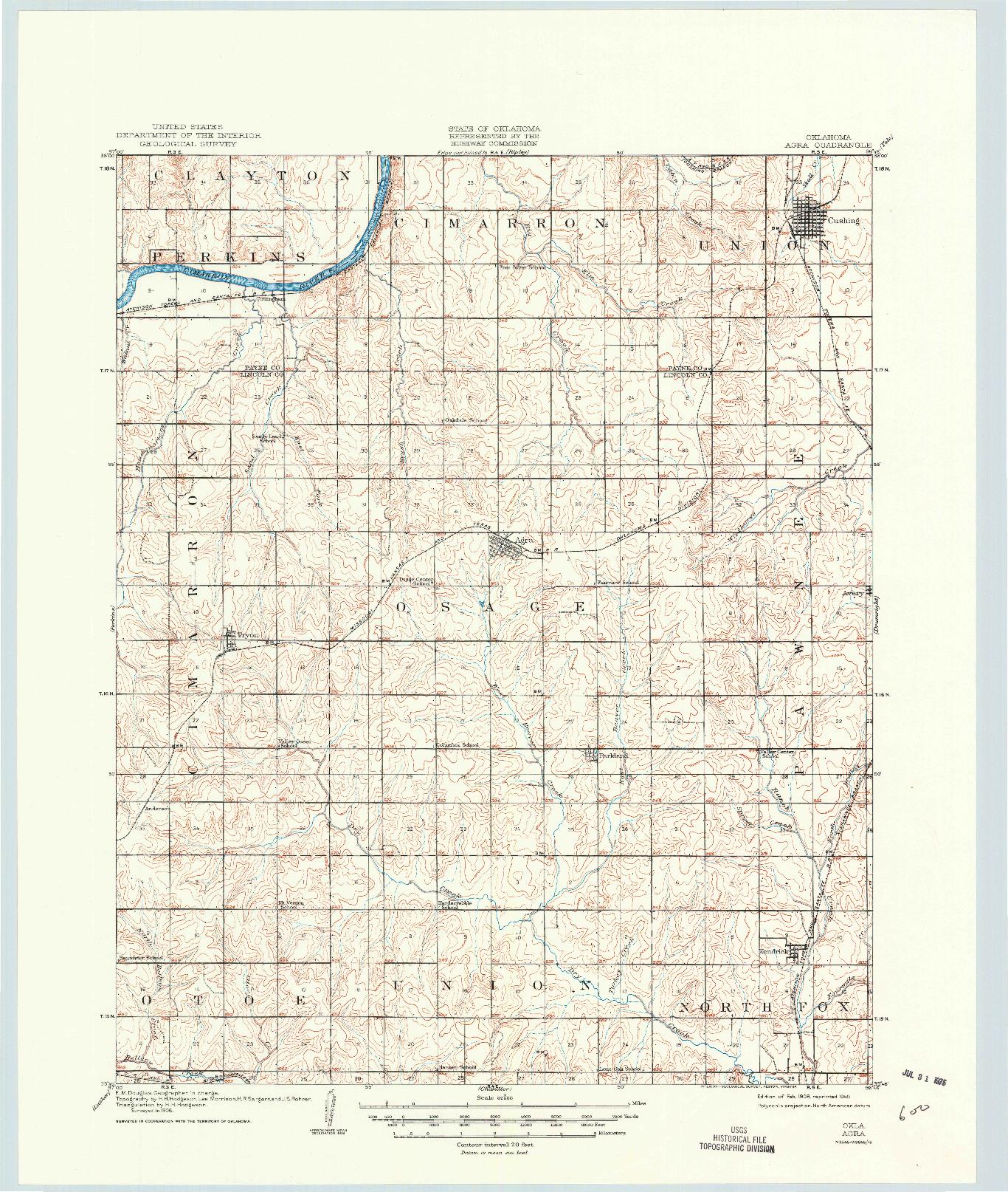 USGS 1:62500-SCALE QUADRANGLE FOR AGRA, OK 1908