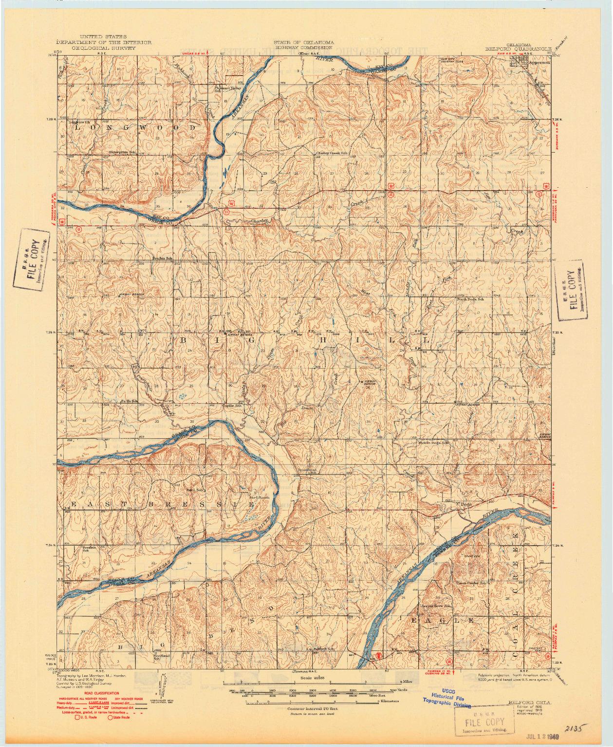 USGS 1:62500-SCALE QUADRANGLE FOR BELFORD, OK 1936