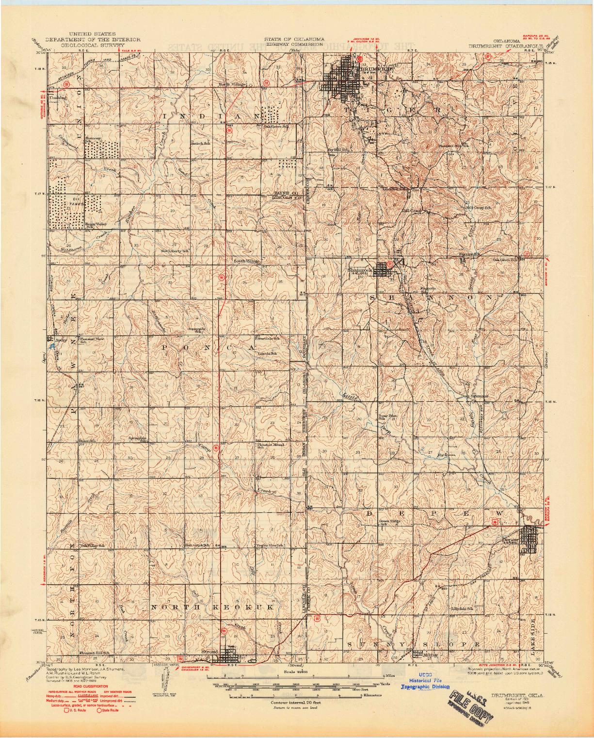 USGS 1:62500-SCALE QUADRANGLE FOR DRUMRIGHT, OK 1931