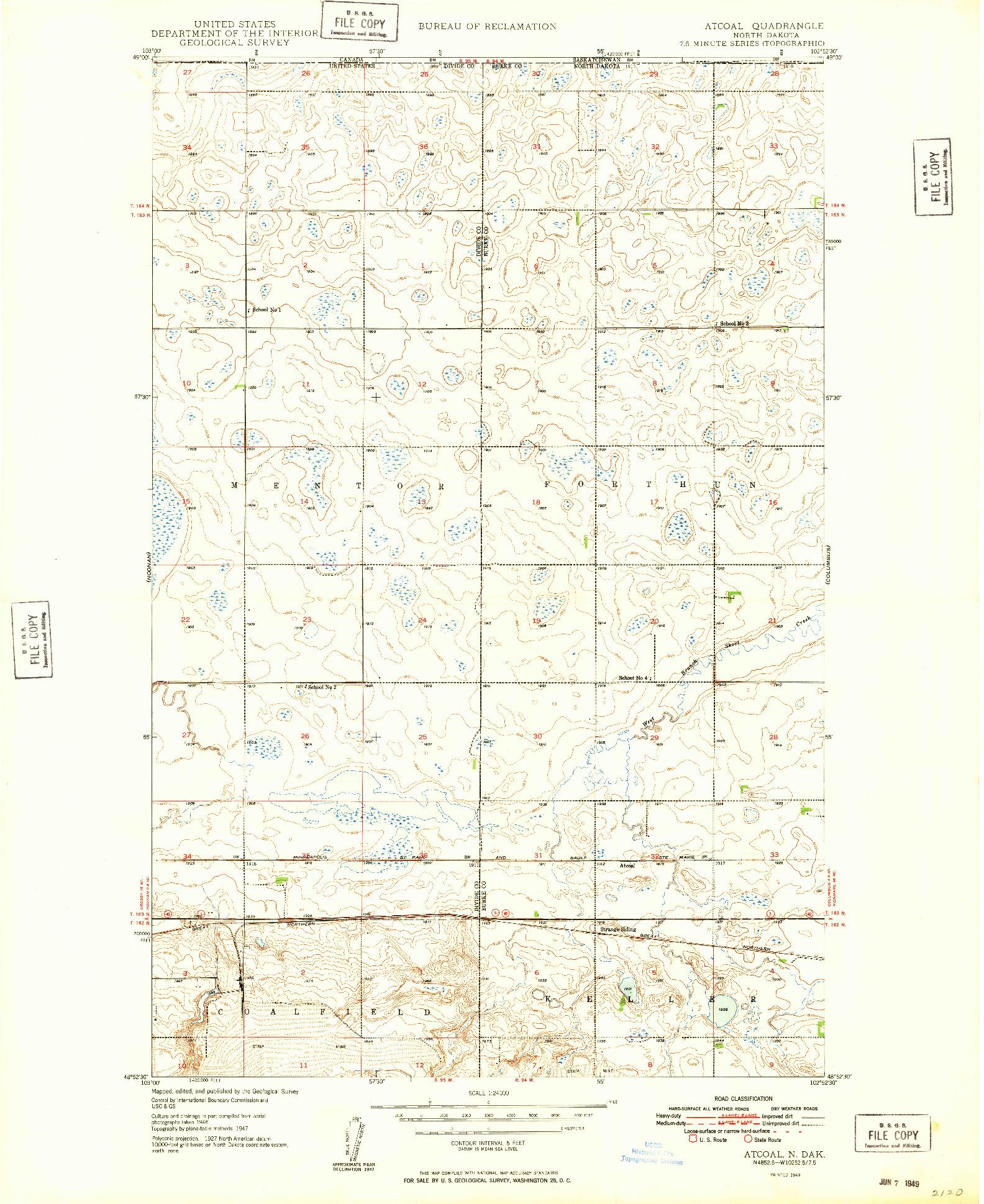 USGS 1:24000-SCALE QUADRANGLE FOR ATCOAL, ND 1949