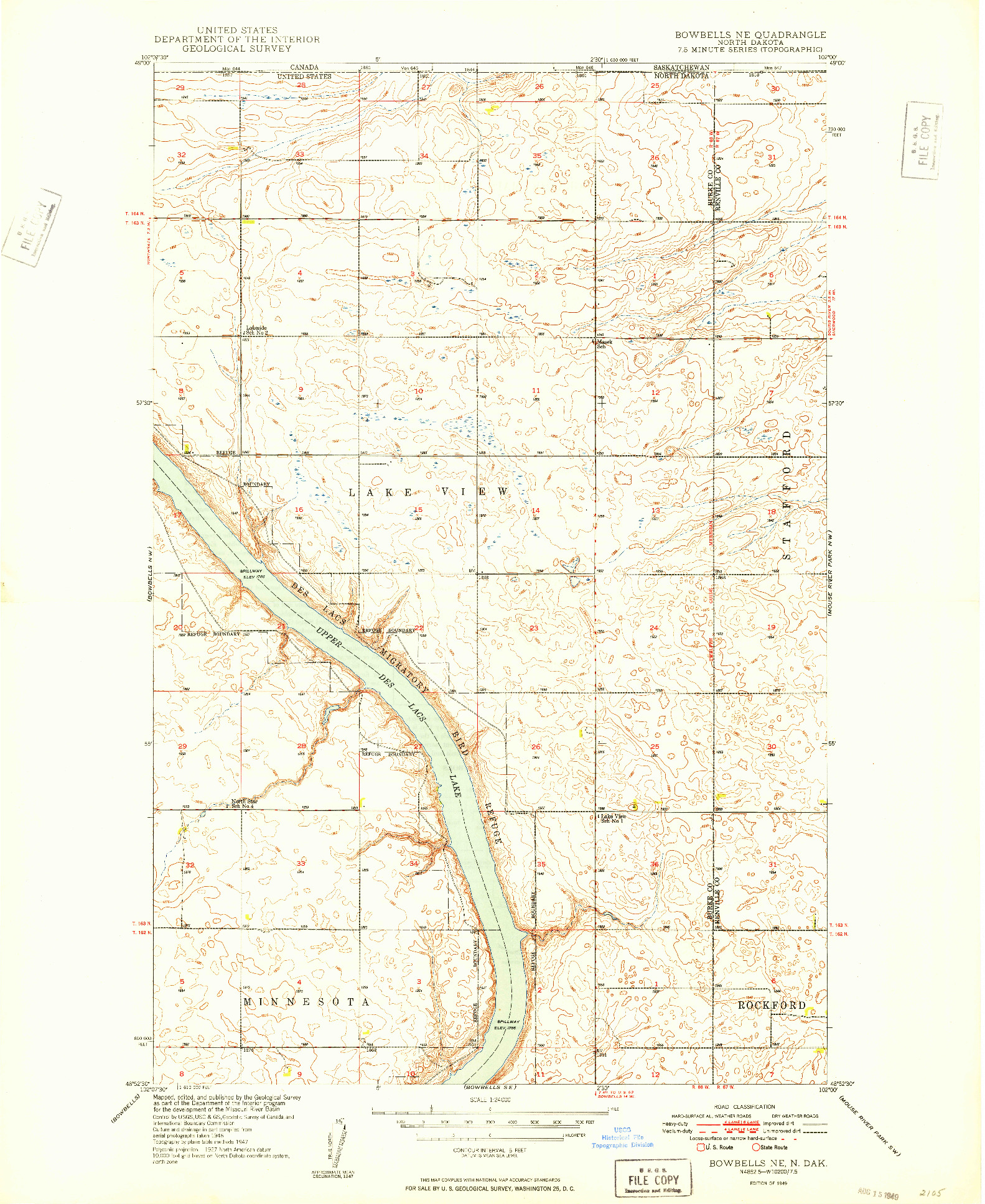 USGS 1:24000-SCALE QUADRANGLE FOR BOWBELLS NE, ND 1949