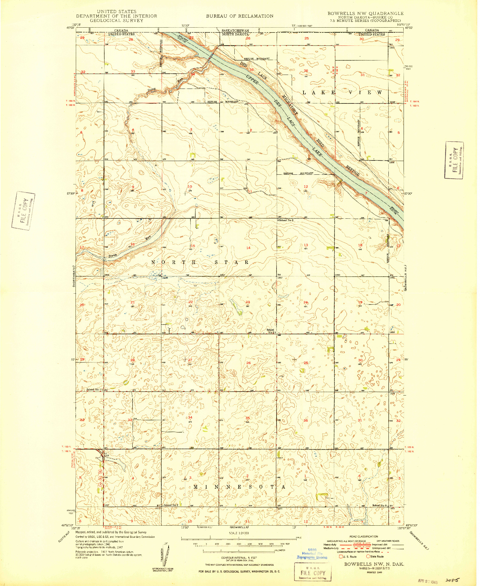 USGS 1:24000-SCALE QUADRANGLE FOR BOWBELLS NW, ND 1949