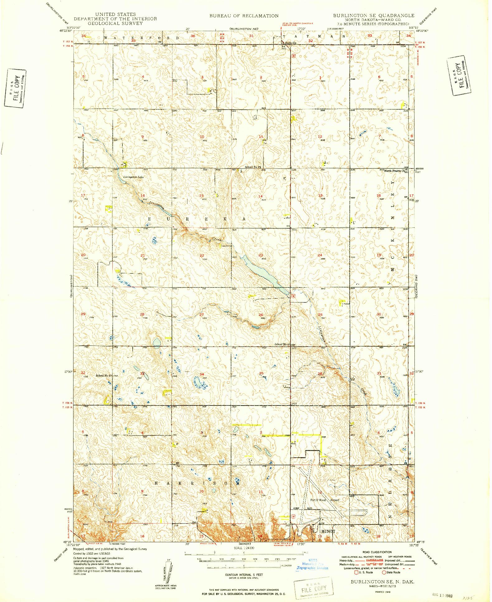 USGS 1:24000-SCALE QUADRANGLE FOR BURLINGTON SE, ND 1949