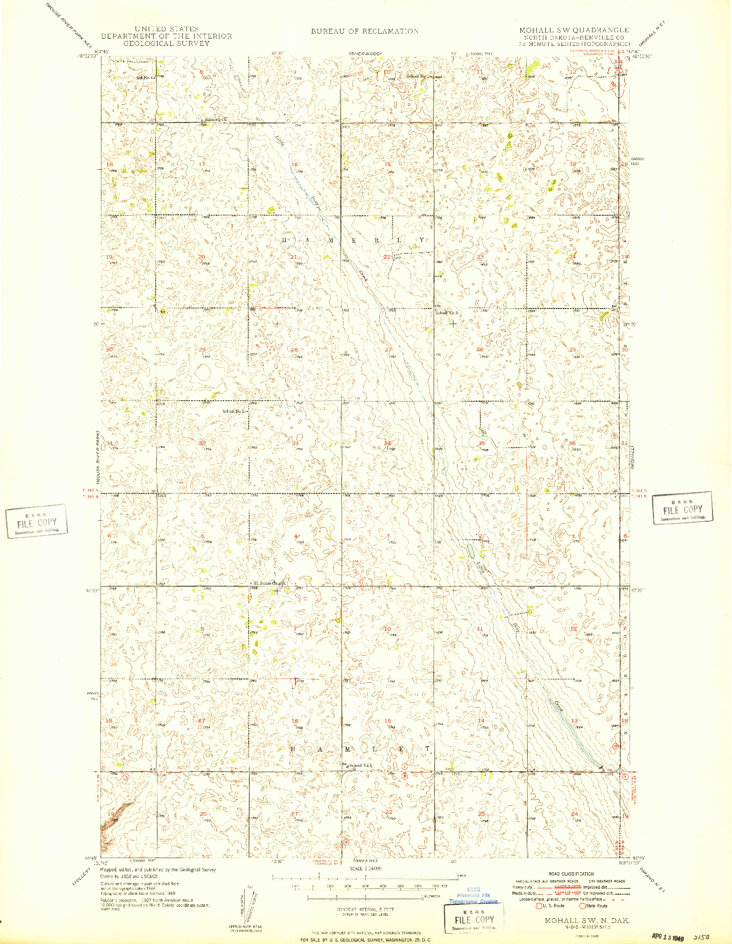 USGS 1:24000-SCALE QUADRANGLE FOR MOHALL SW, ND 1949