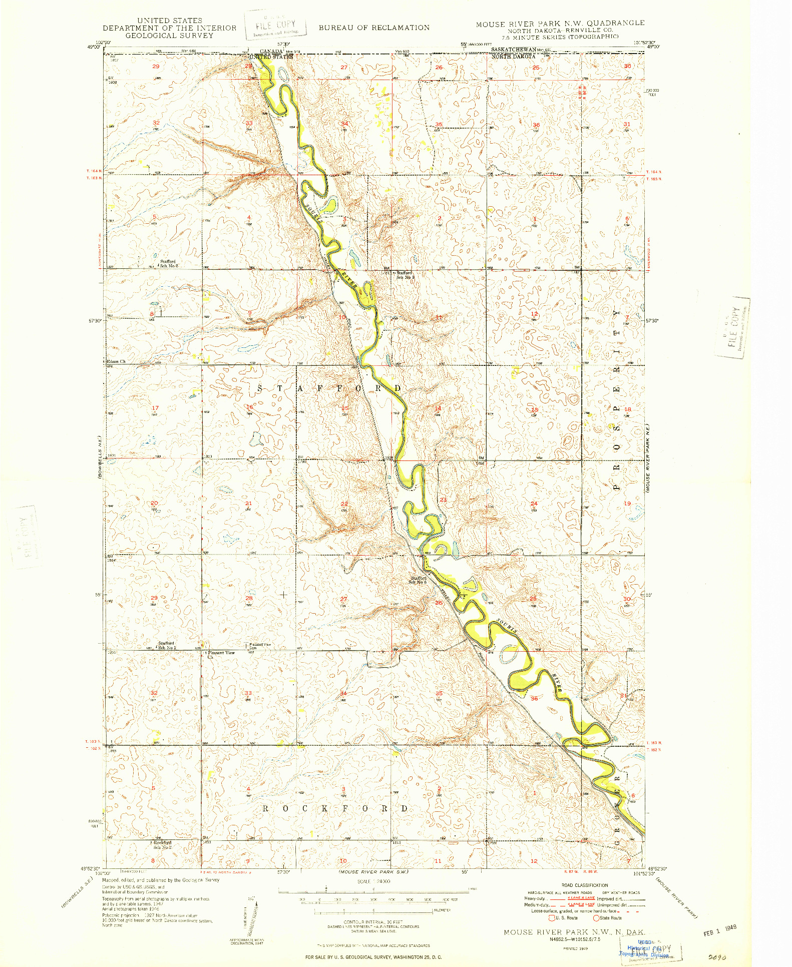 USGS 1:24000-SCALE QUADRANGLE FOR MOUSE RIVER PARK NW, ND 1949