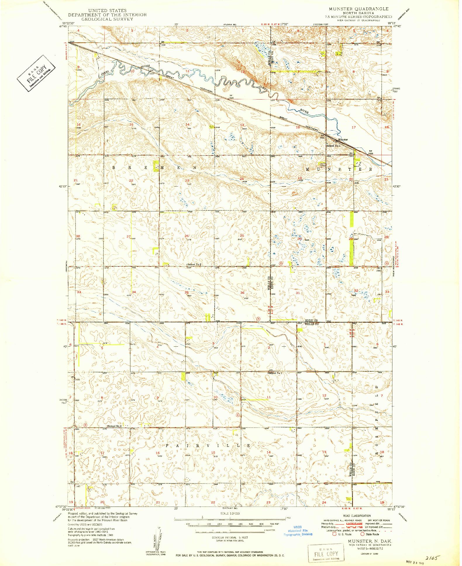 USGS 1:24000-SCALE QUADRANGLE FOR MUNSTER, ND 1949