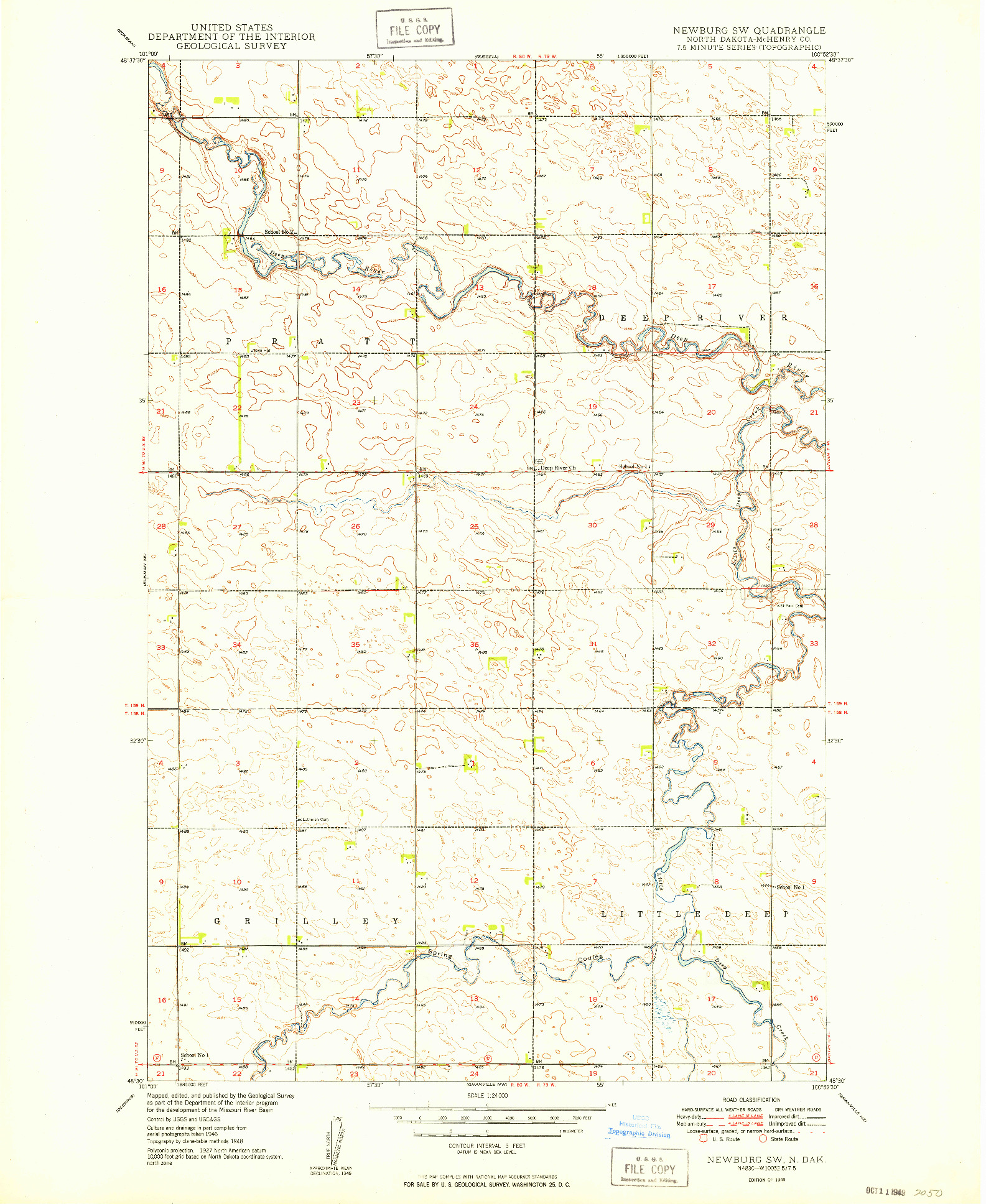 USGS 1:24000-SCALE QUADRANGLE FOR NEWBURG SW, ND 1949