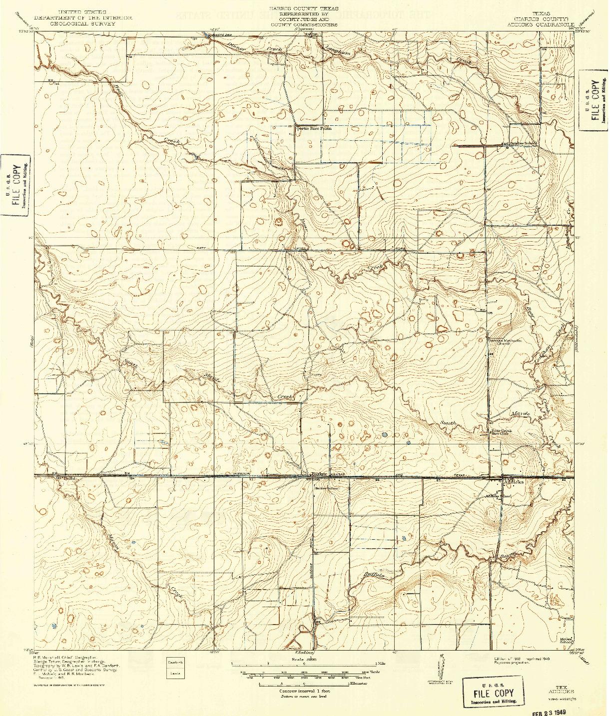 USGS 1:31680-SCALE QUADRANGLE FOR ADDICKS, TX 1918