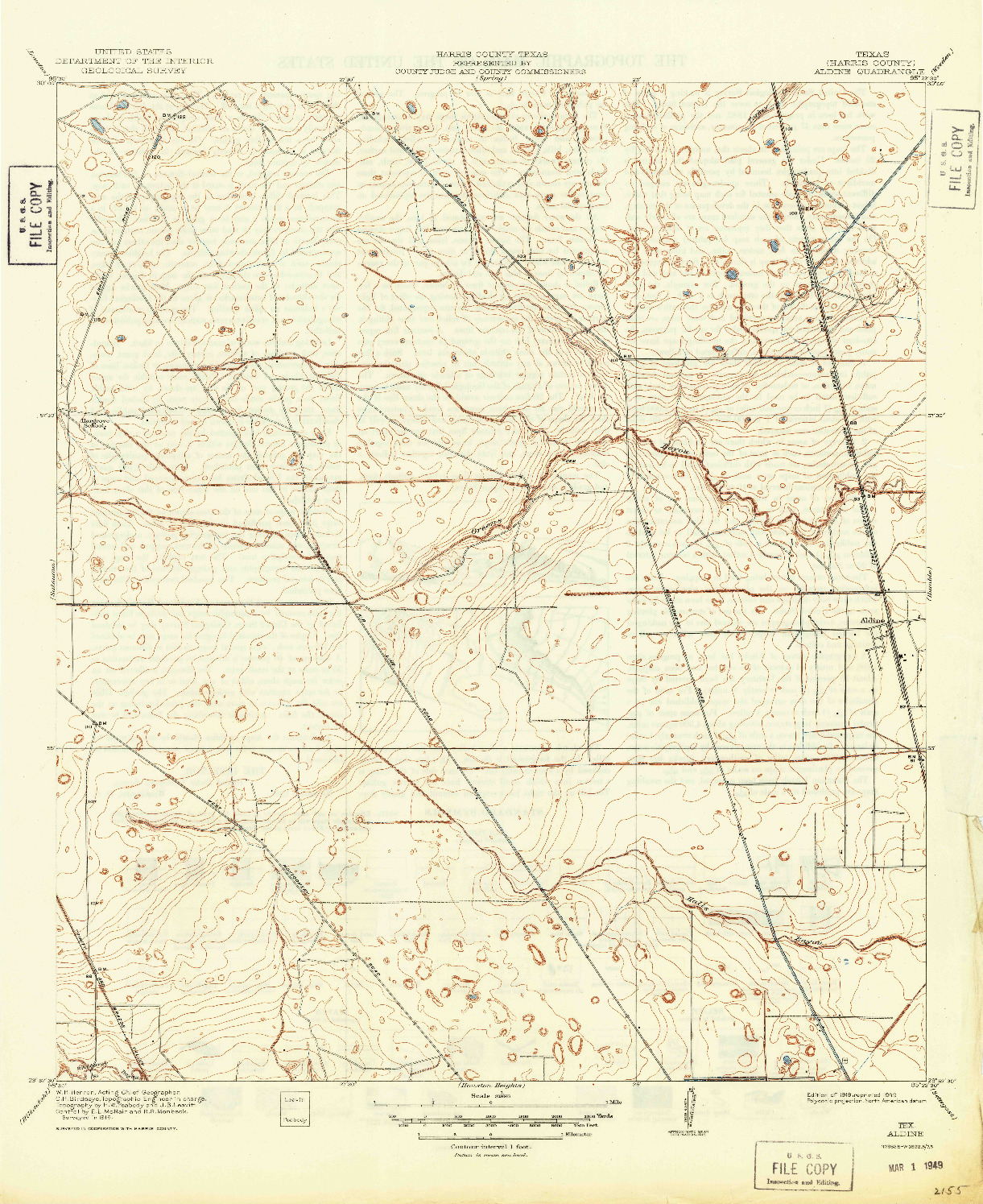 USGS 1:31680-SCALE QUADRANGLE FOR ALDINE, TX 1919