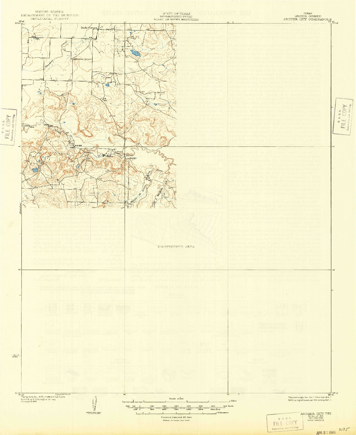 USGS 1:62500-SCALE QUADRANGLE FOR ARCHER CITY, TX 1931