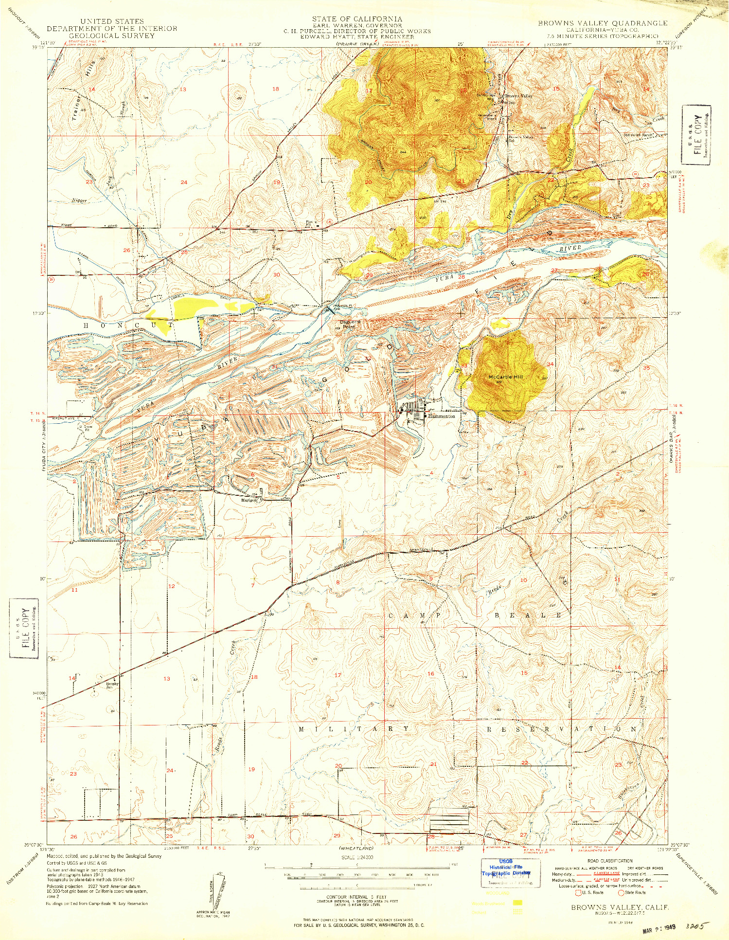 USGS 1:24000-SCALE QUADRANGLE FOR BROWNS VALLEY, CA 1949
