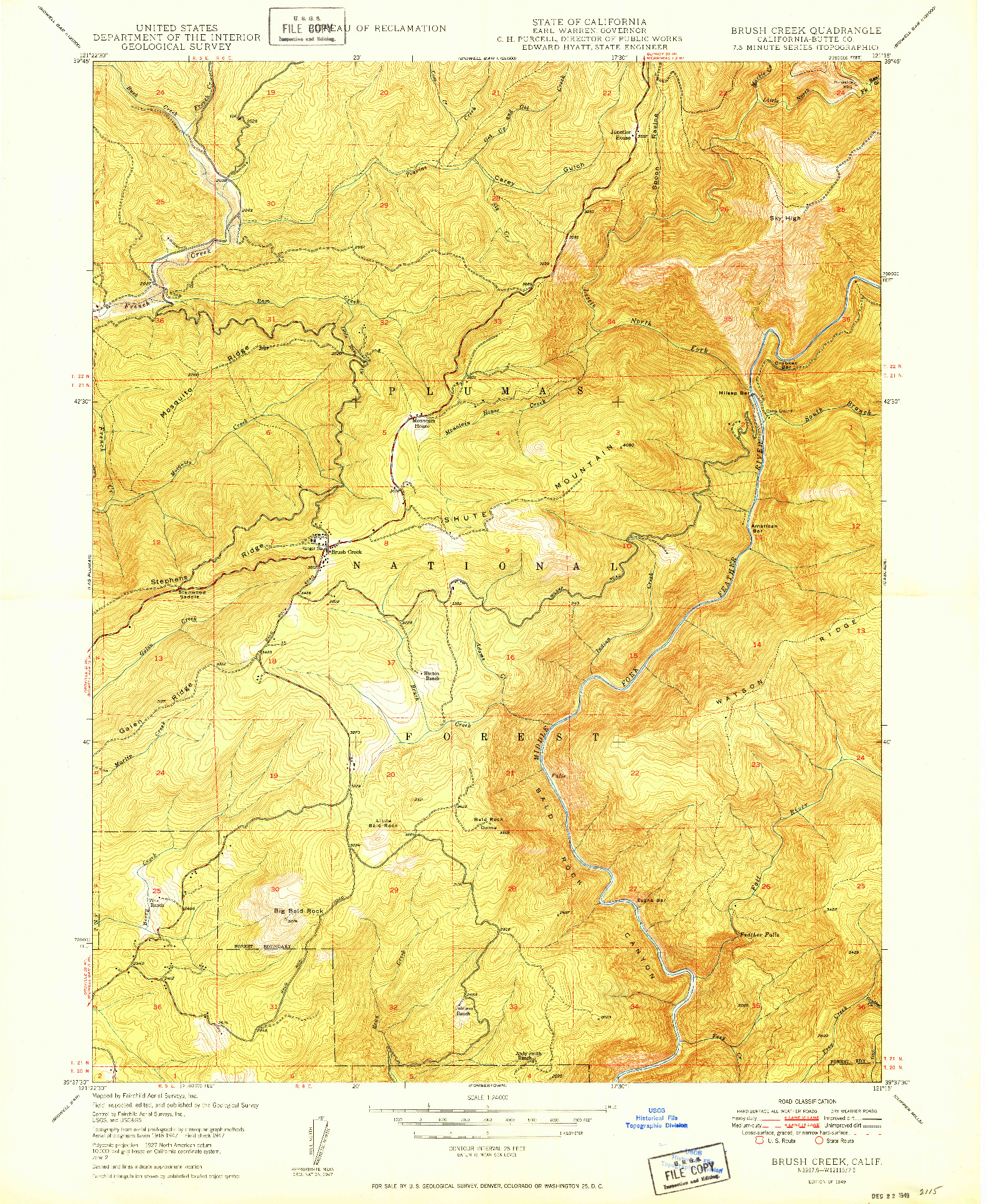 USGS 1:24000-SCALE QUADRANGLE FOR BRUSH CREEK, CA 1949