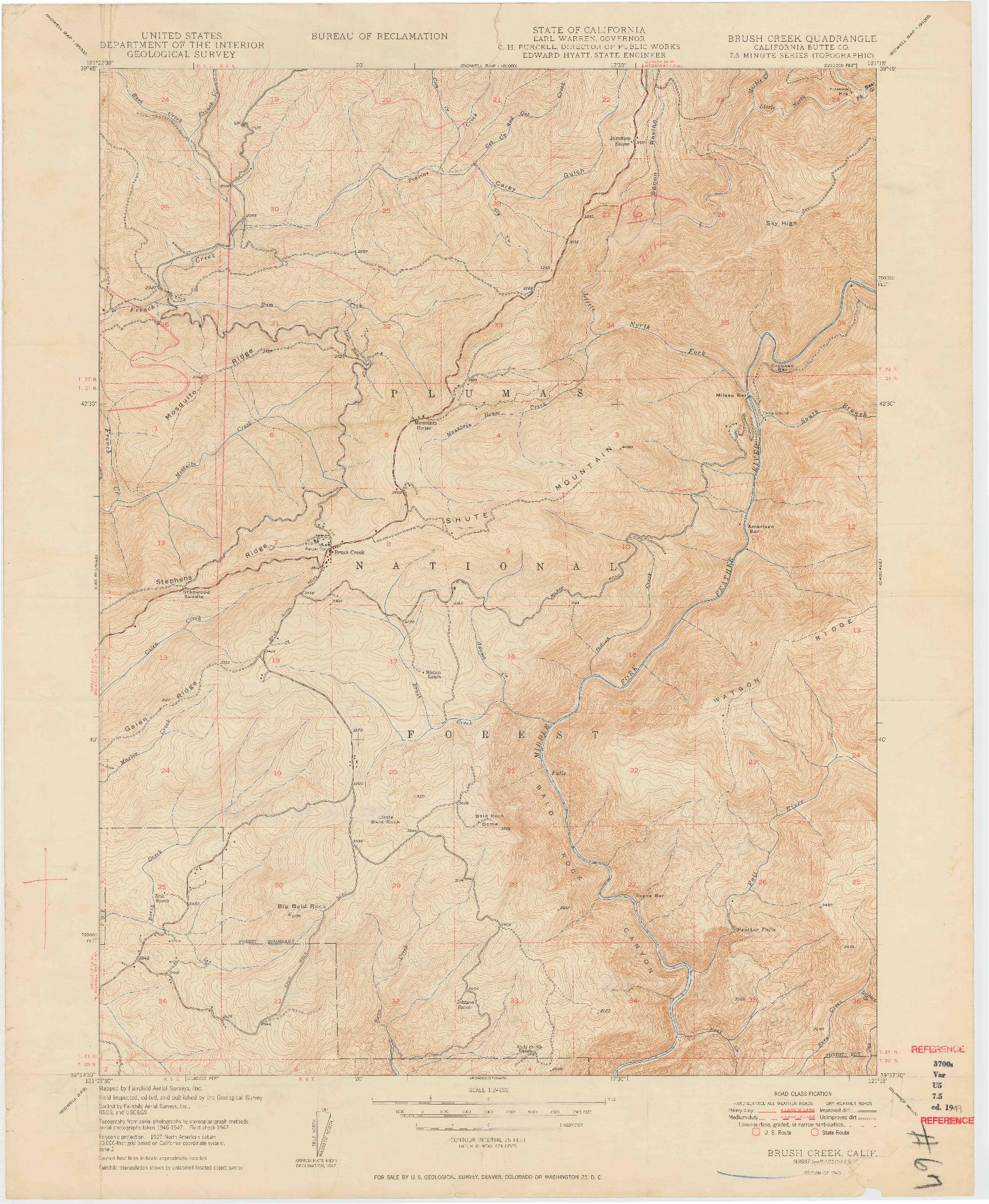 USGS 1:24000-SCALE QUADRANGLE FOR BRUSH CREEK, CA 1949