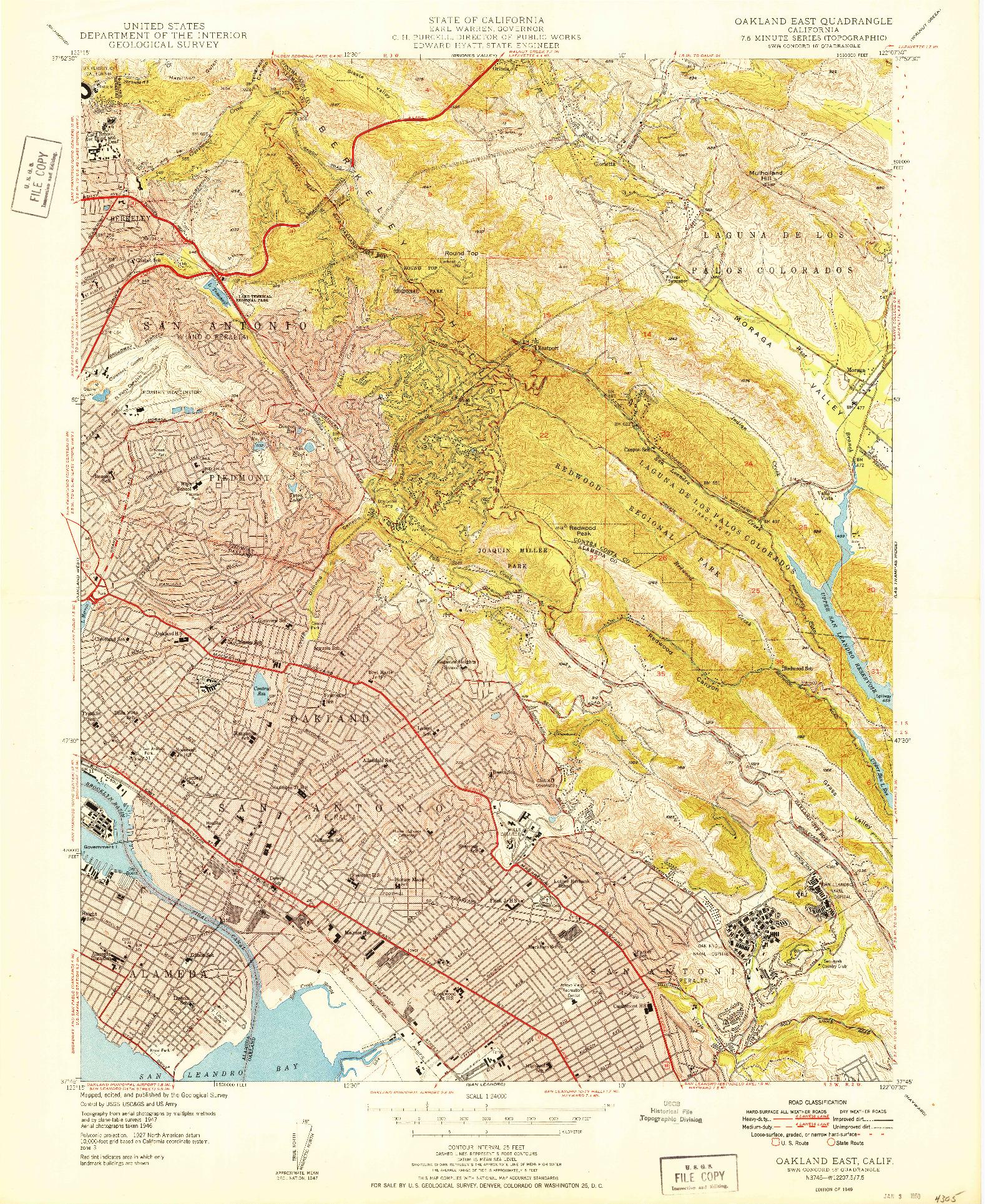 USGS 1:24000-SCALE QUADRANGLE FOR OAKLAND EAST, CA 1949