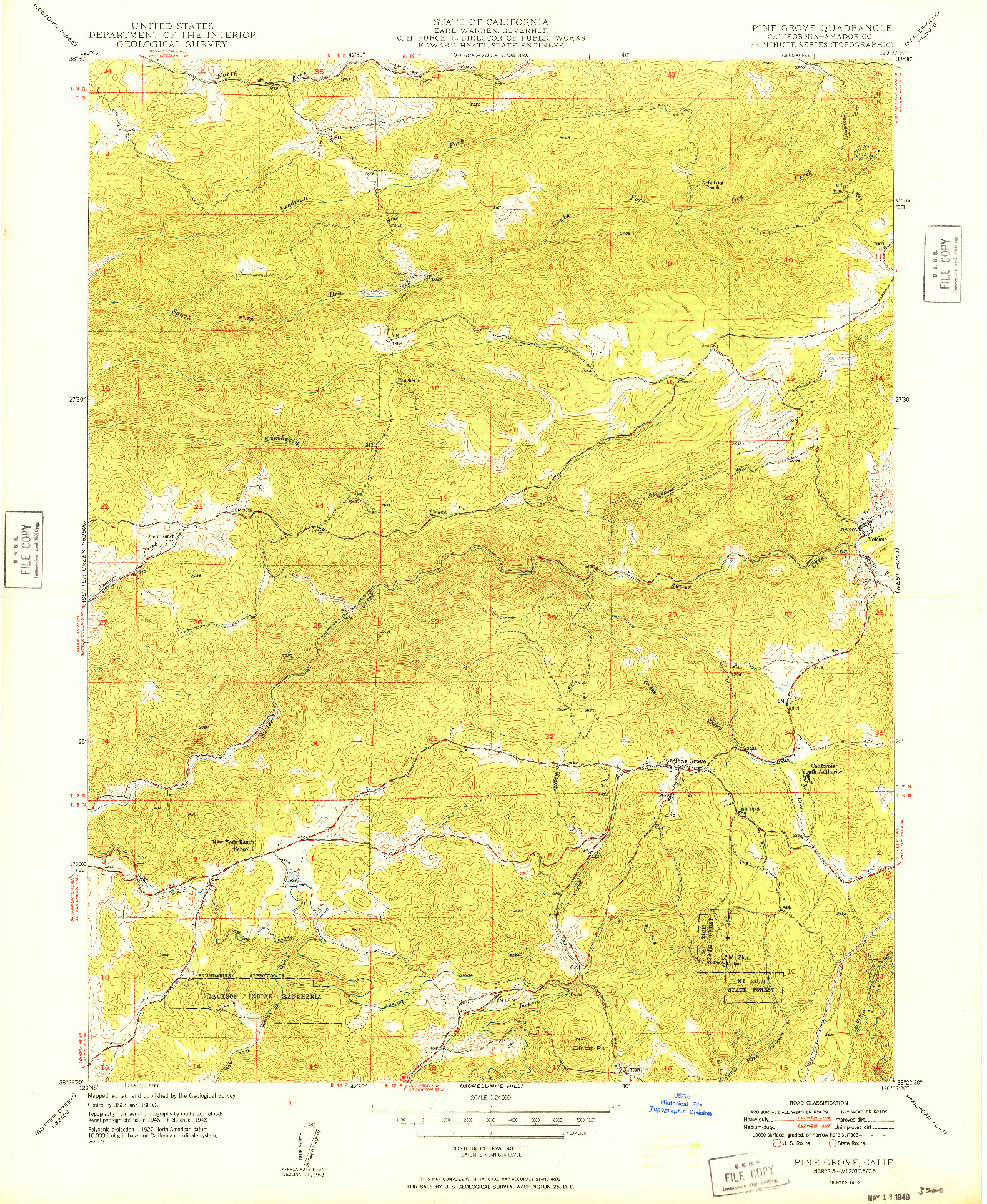USGS 1:24000-SCALE QUADRANGLE FOR PINE GROVE, CA 1949