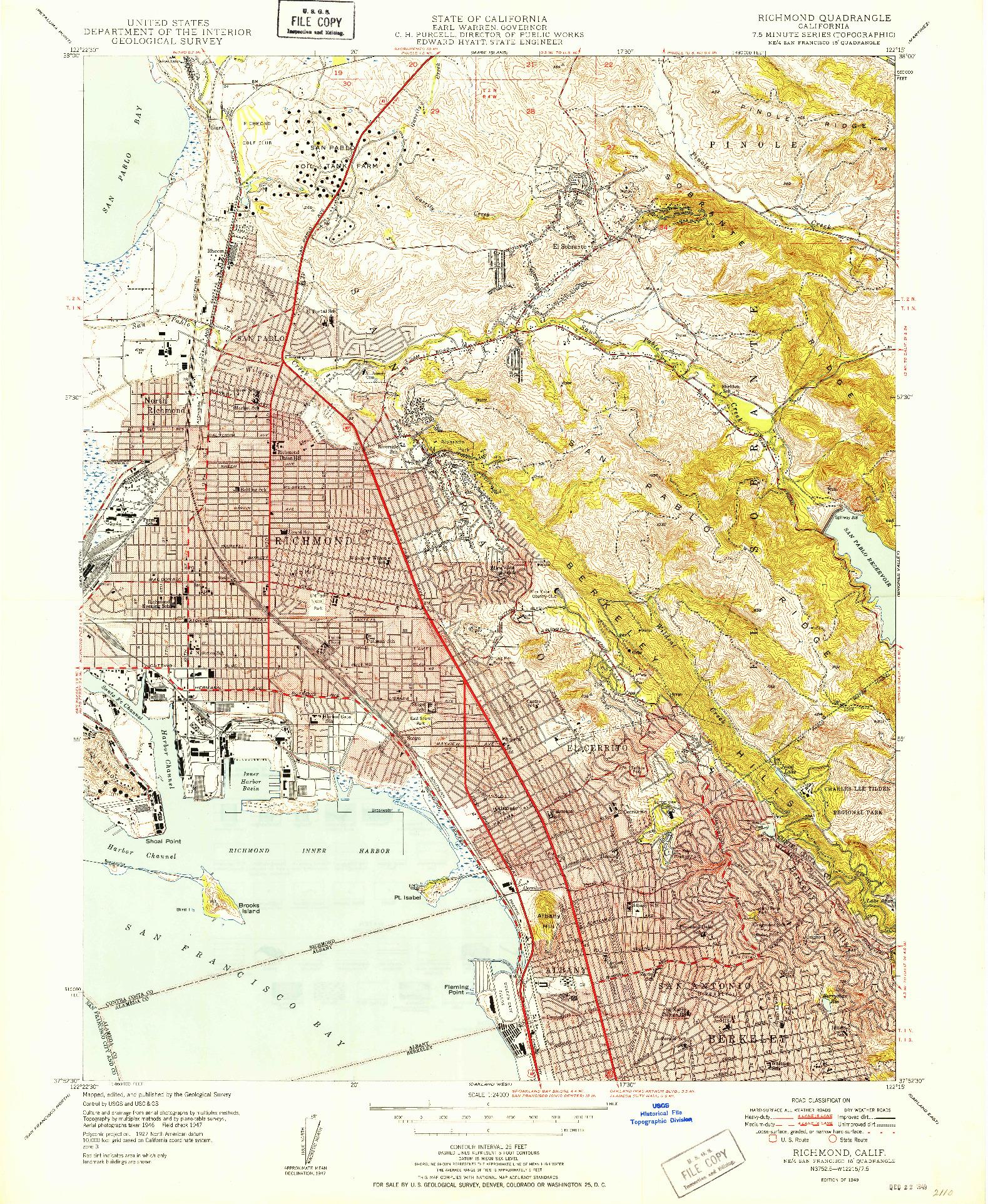 USGS 1:24000-SCALE QUADRANGLE FOR RICHMOND, CA 1949