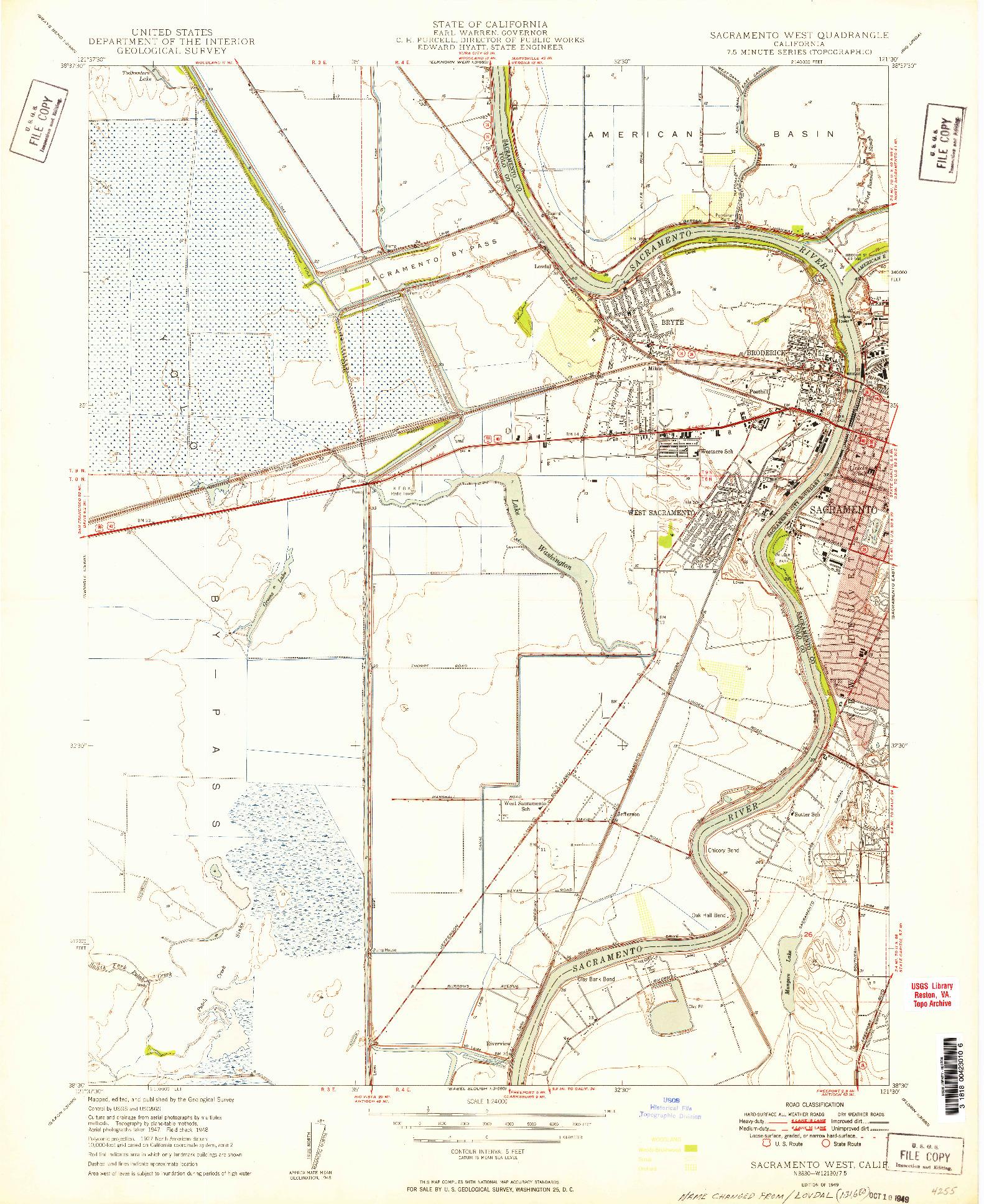USGS 1:24000-SCALE QUADRANGLE FOR SACRAMENTO WEST, CA 1949