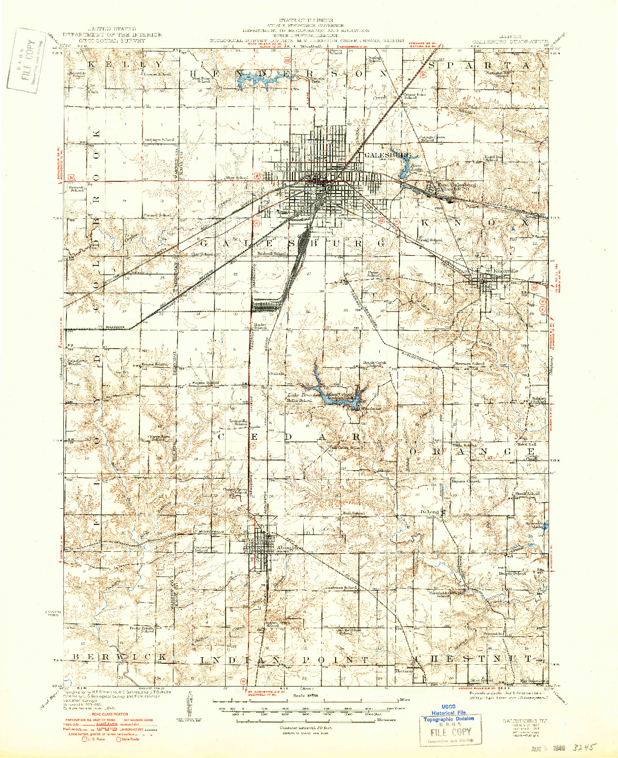 USGS 1:62500-SCALE QUADRANGLE FOR GALESBURG, IL 1927
