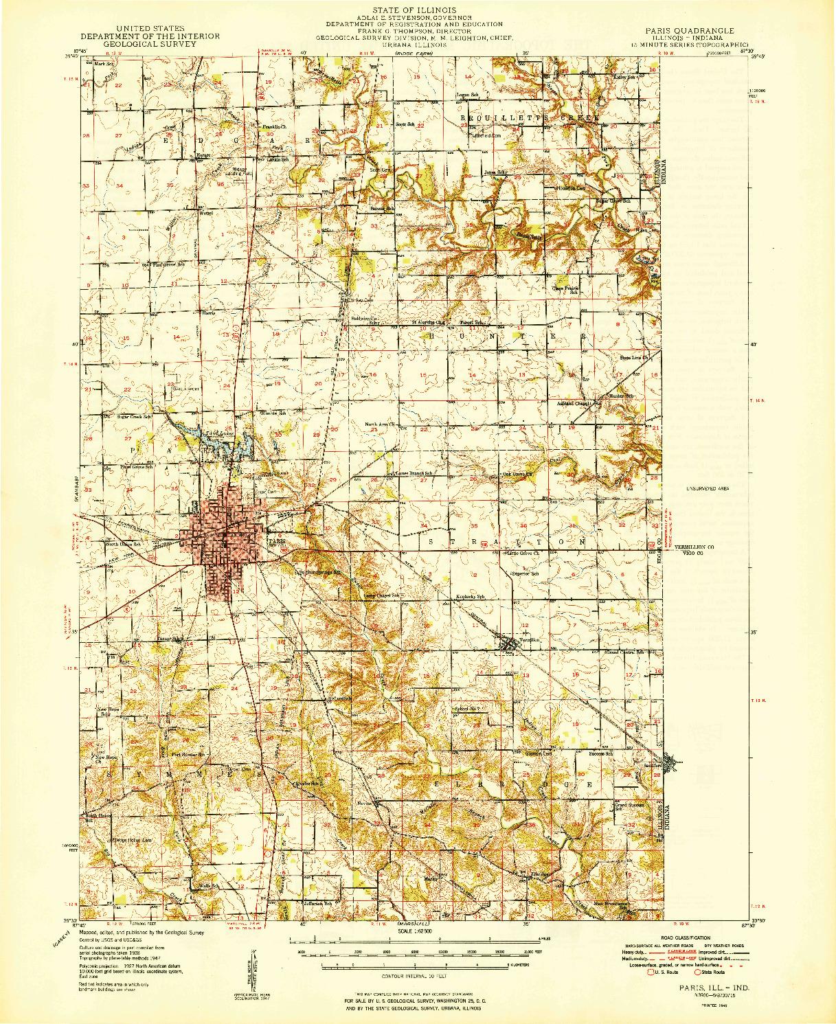 USGS 1:62500-SCALE QUADRANGLE FOR PARIS, IL 1949