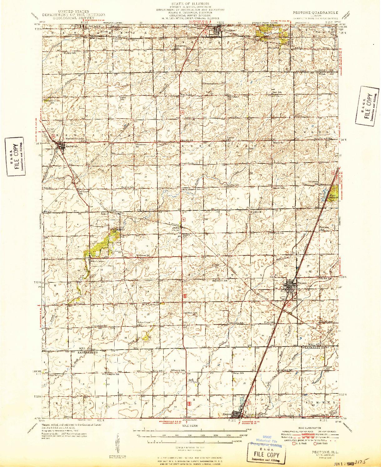 USGS 1:62500-SCALE QUADRANGLE FOR PEOTONE, IL 1949