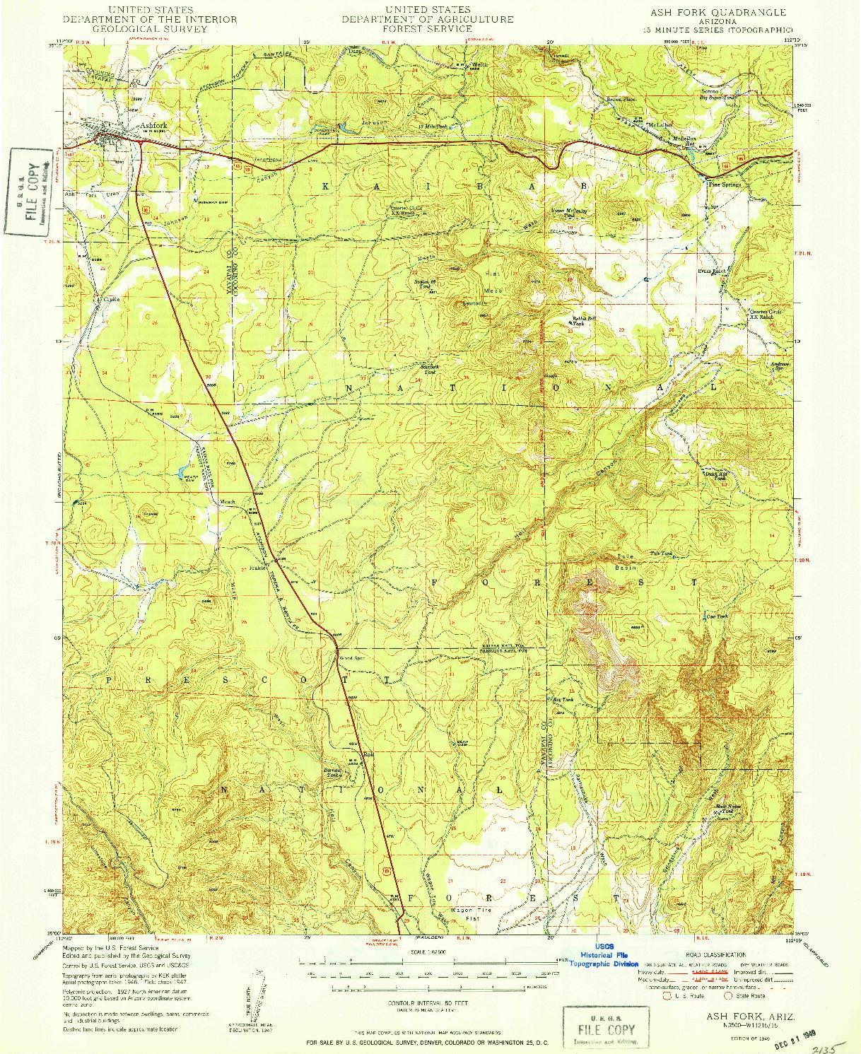 USGS 1:62500-SCALE QUADRANGLE FOR ASH FORK, AZ 1949