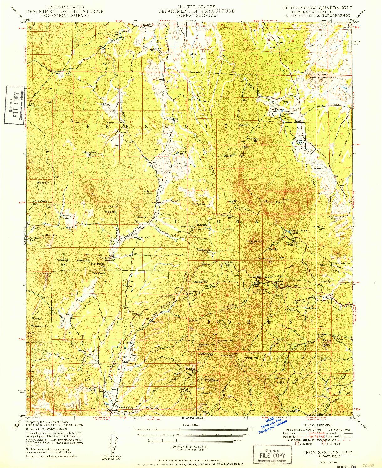 USGS 1:62500-SCALE QUADRANGLE FOR IRON SPRINGS, AZ 1949