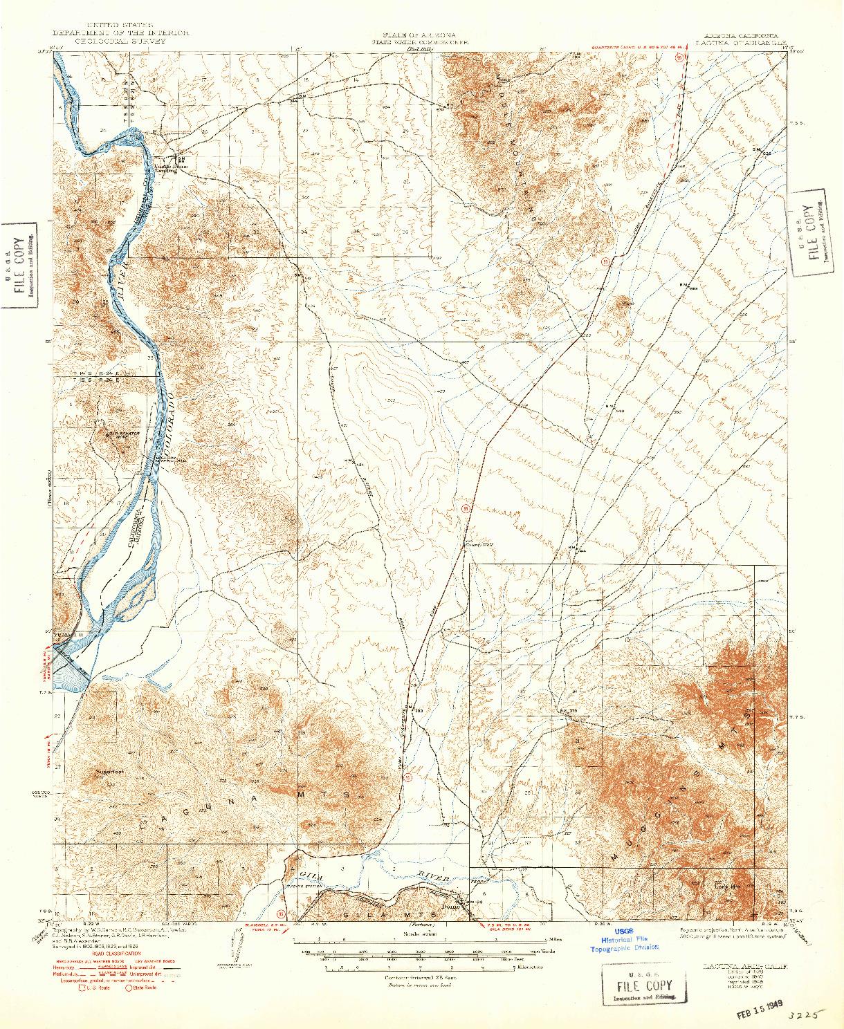 USGS 1:62500-SCALE QUADRANGLE FOR LAGUNA, AZ 1929