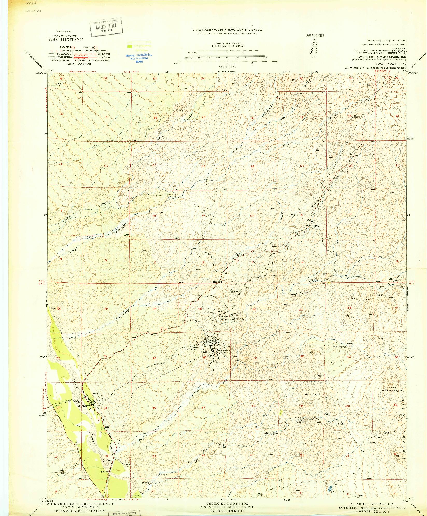 USGS 1:24000-SCALE QUADRANGLE FOR MAMMOTH, AZ 1949