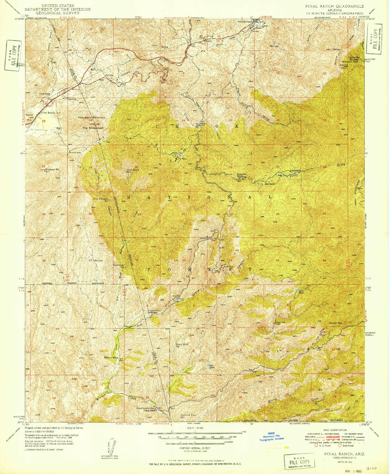 USGS 1:24000-SCALE QUADRANGLE FOR PINAL RANCH, AZ 1949