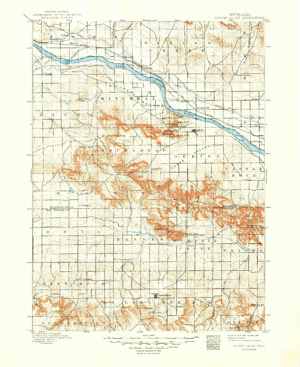 USGS 1:125000-SCALE QUADRANGLE FOR SCOTTS BLUFF, NE 1898
