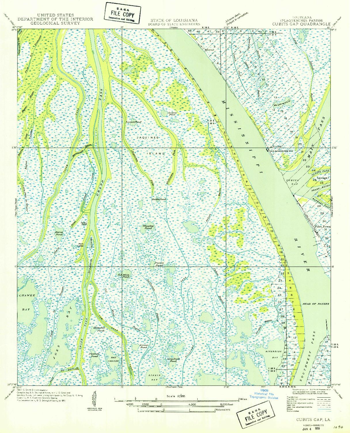 USGS 1:31680-SCALE QUADRANGLE FOR CUBITS GAP, LA 1949