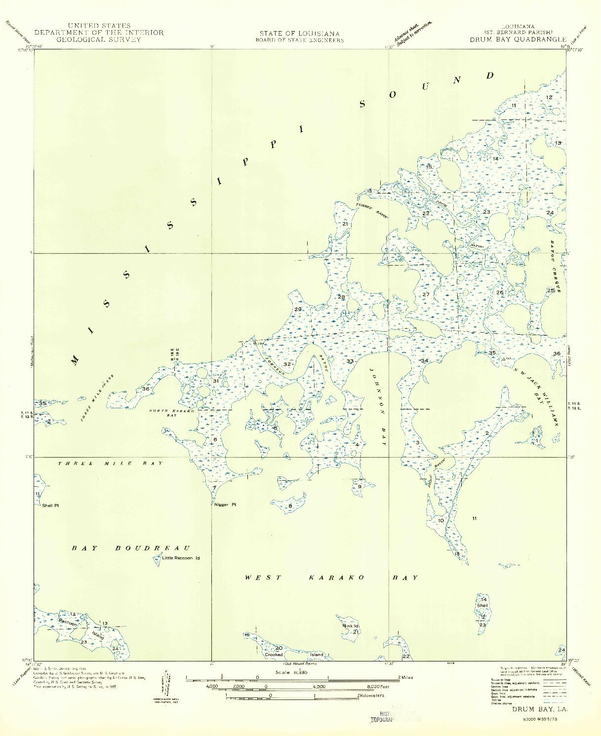 USGS 1:31680-SCALE QUADRANGLE FOR DRUM BAY, LA 1949