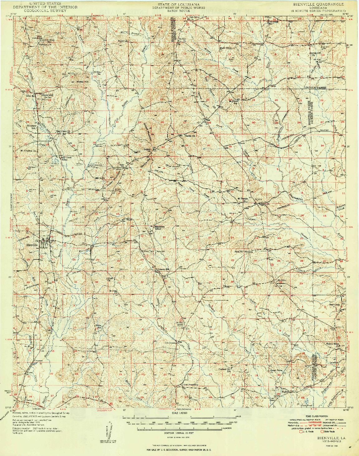 USGS 1:62500-SCALE QUADRANGLE FOR BIENVILLE, LA 1949