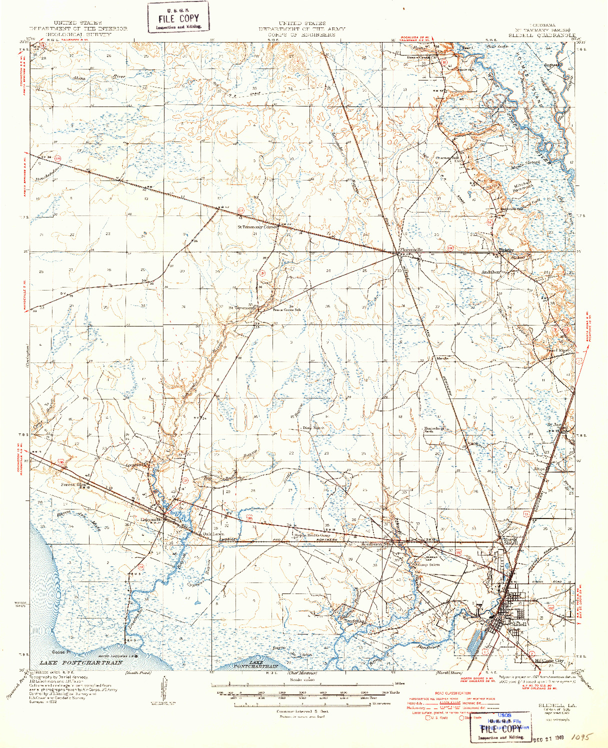USGS 1:62500-SCALE QUADRANGLE FOR SLIDELL, LA 1935