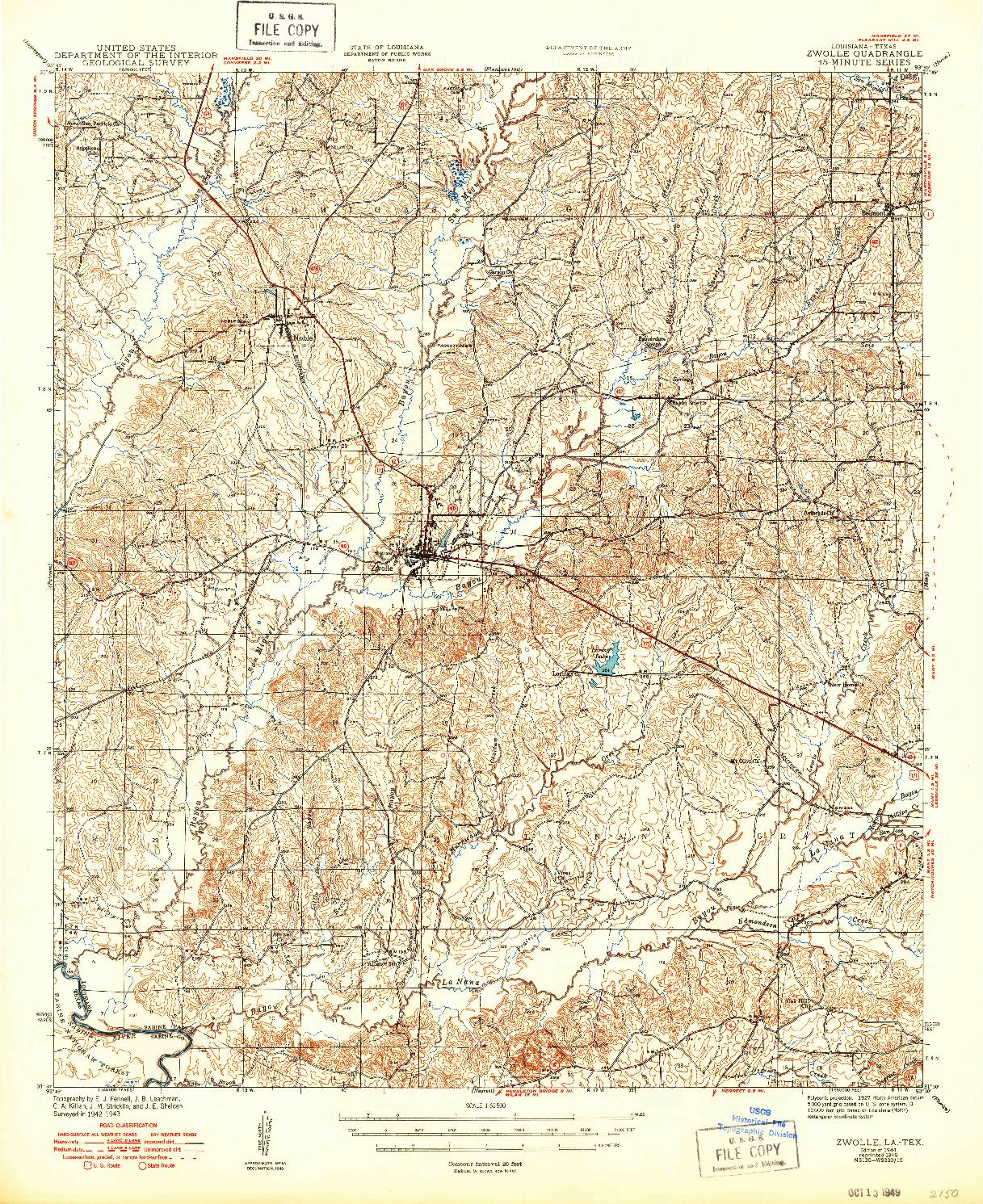 USGS 1:62500-SCALE QUADRANGLE FOR ZWOLLE, LA 1944