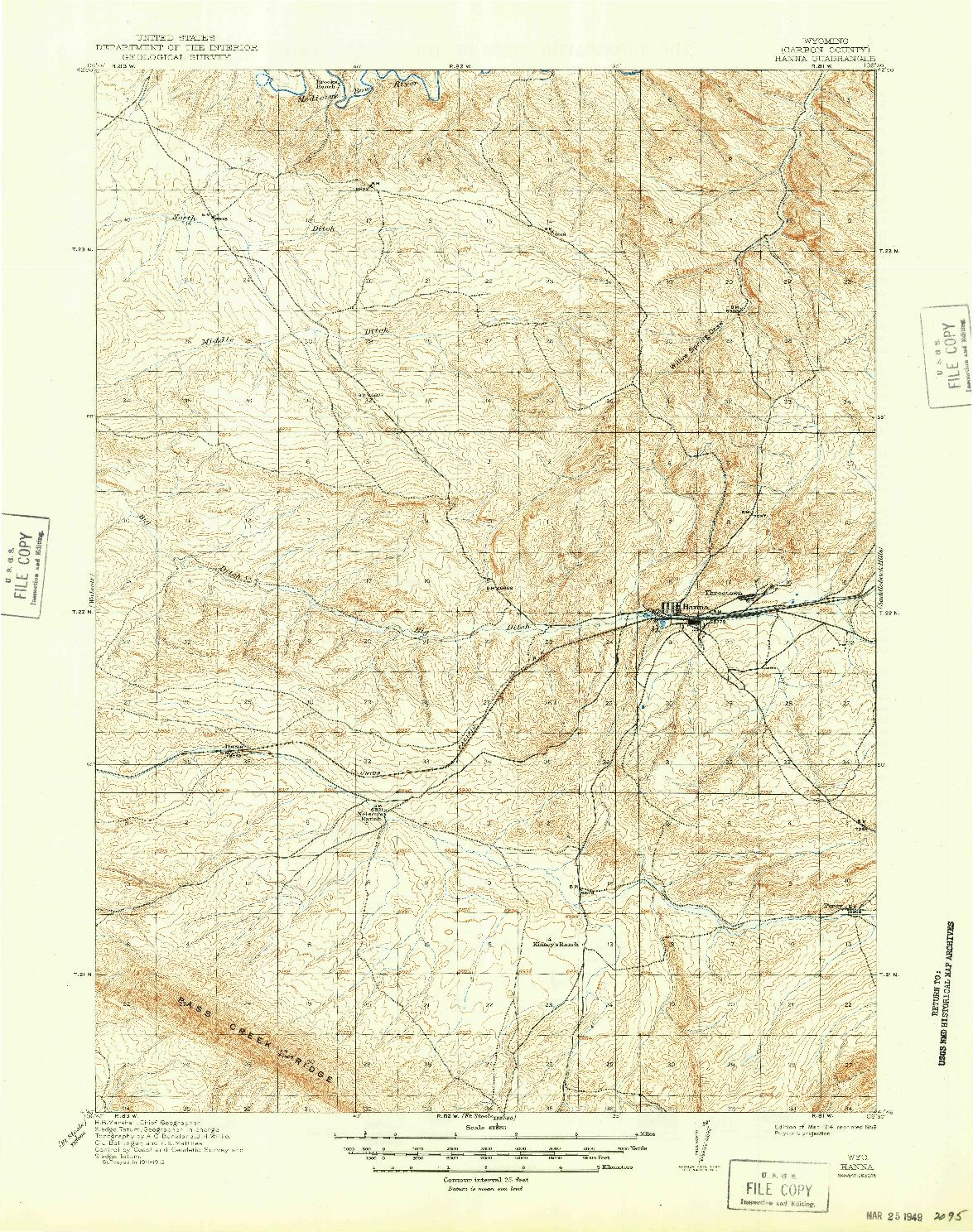 USGS 1:62500-SCALE QUADRANGLE FOR HANNA, WY 1914