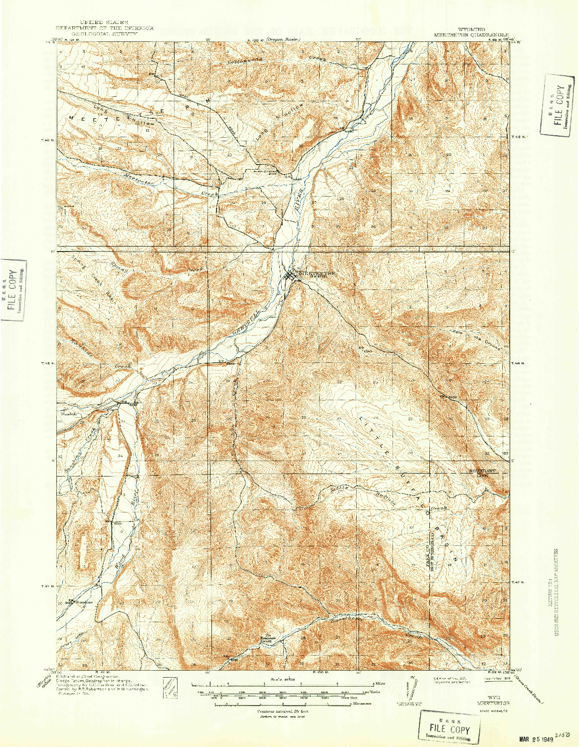 USGS 1:62500-SCALE QUADRANGLE FOR MEETEETSE, WY 1913