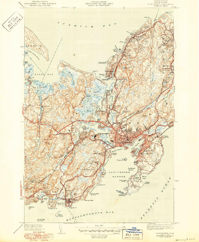 USGS 1:31680-SCALE QUADRANGLE FOR GLOUCESTER, MA 1944