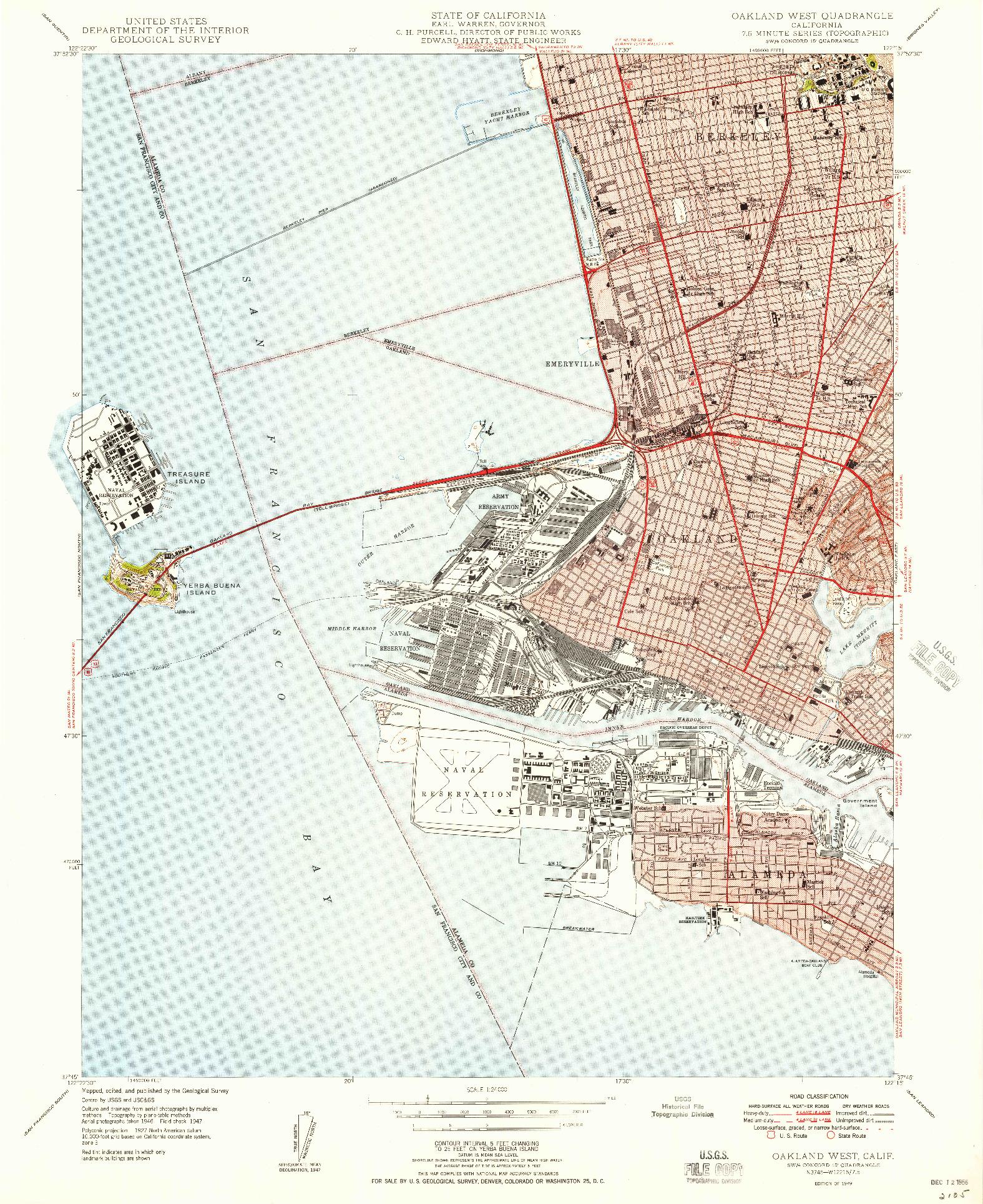USGS 1:24000-SCALE QUADRANGLE FOR OAKLAND WEST, CA 1949