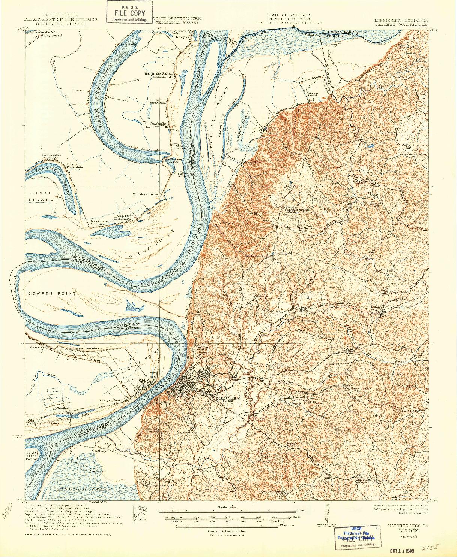 USGS 1:62500-SCALE QUADRANGLE FOR NATCHEZ, MS 1922