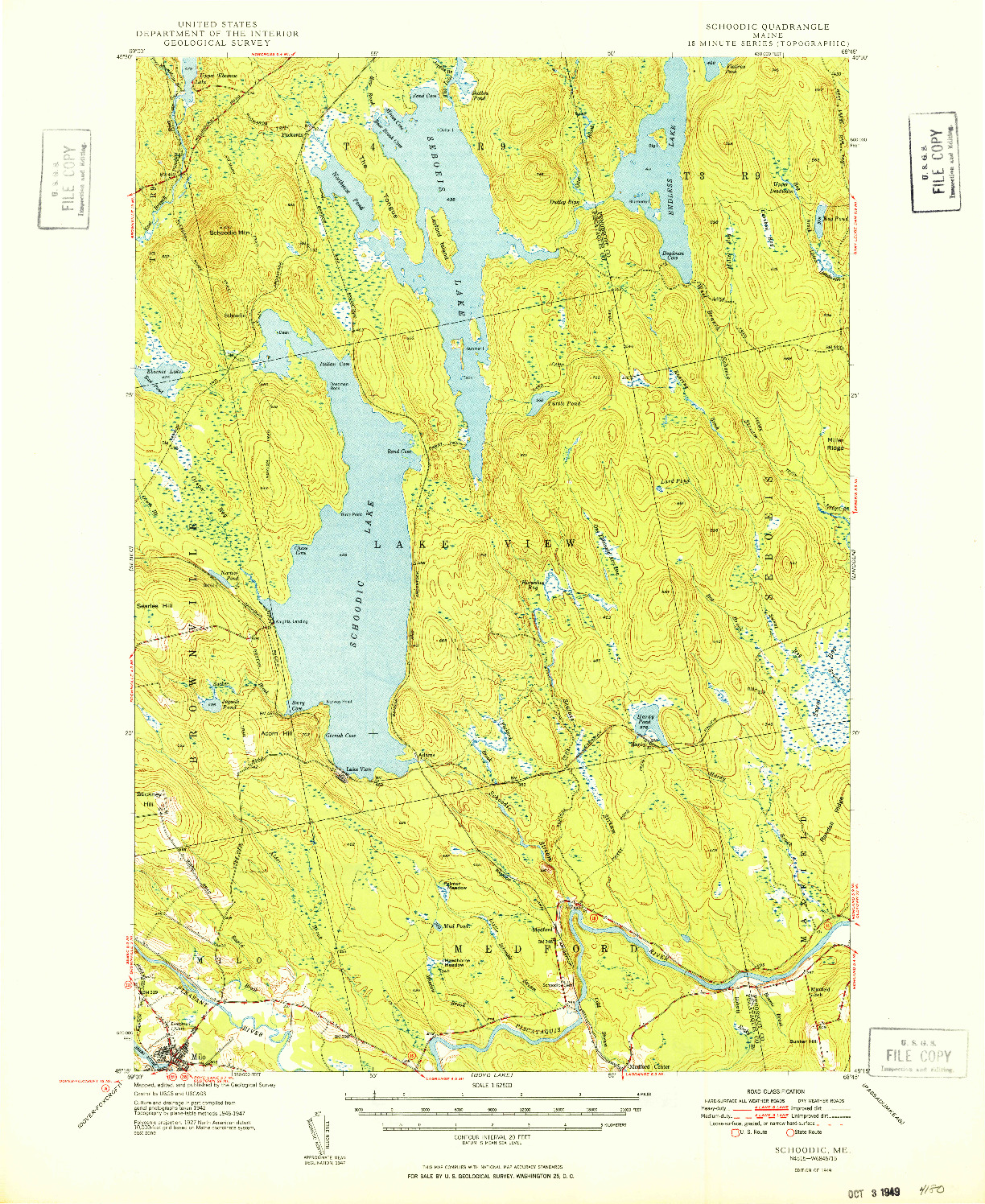 USGS 1:62500-SCALE QUADRANGLE FOR SCHOODIC, ME 1949