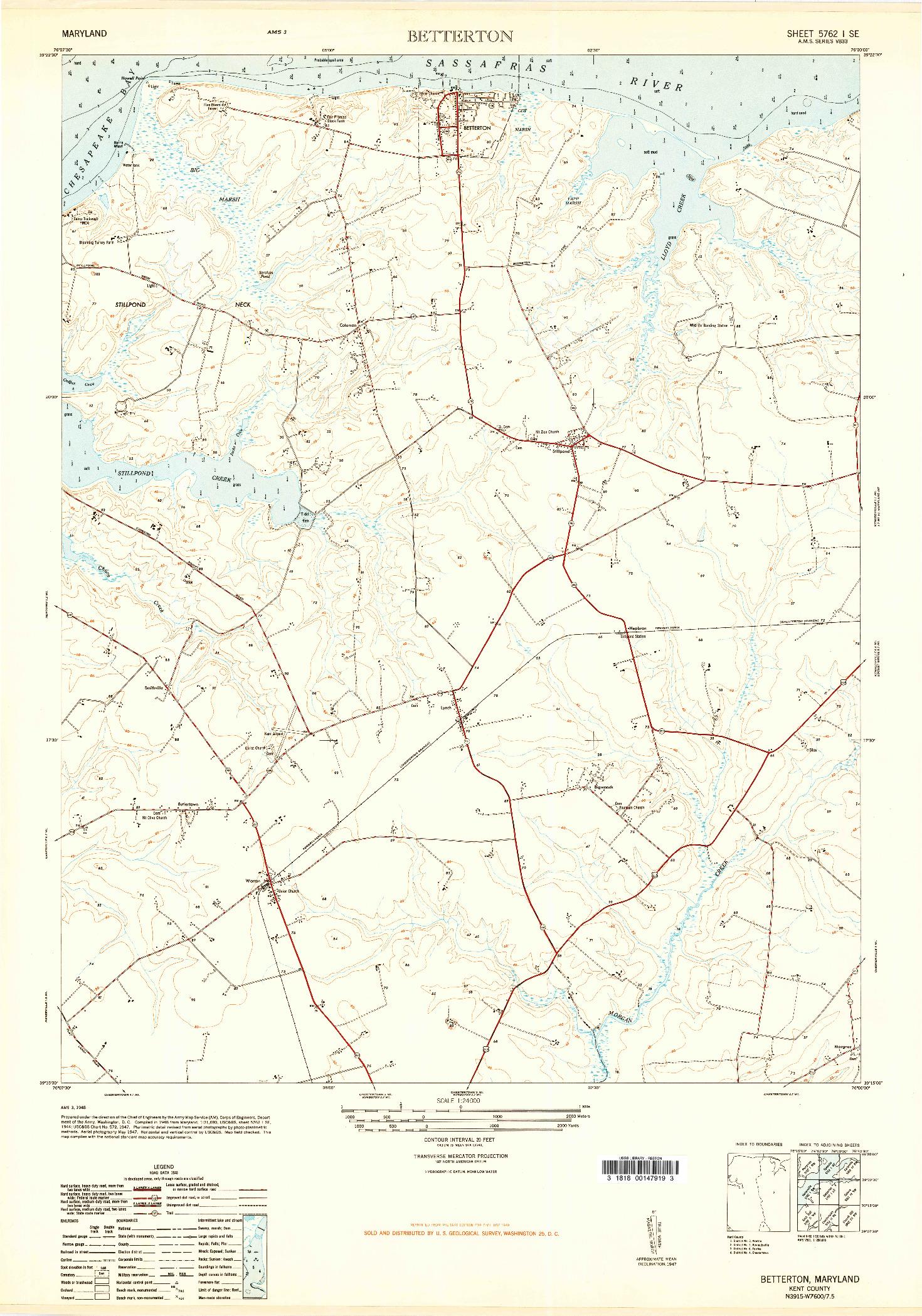 USGS 1:24000-SCALE QUADRANGLE FOR BETTERTON, MD 1948