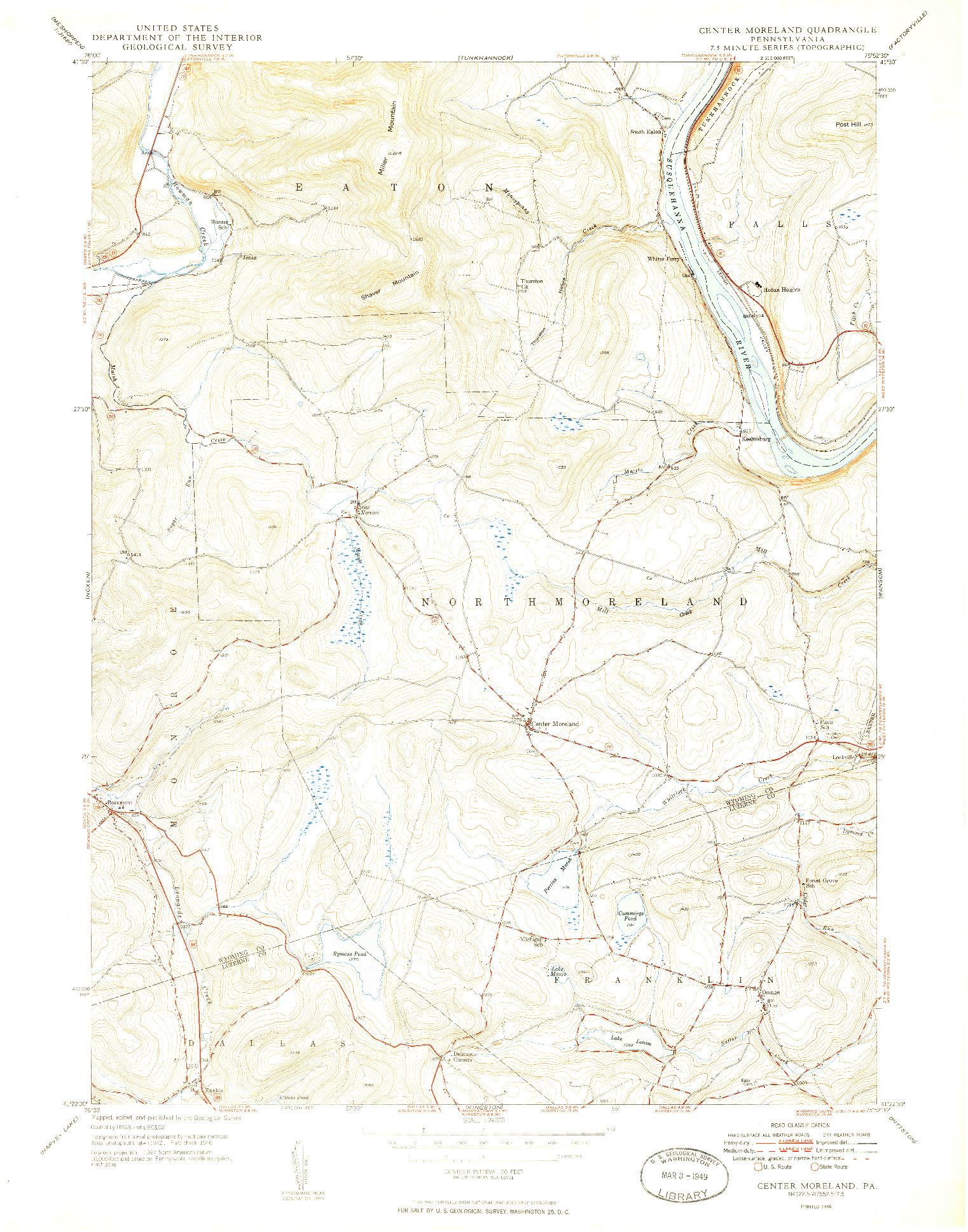USGS 1:24000-SCALE QUADRANGLE FOR CENTER MORELAND, PA 1949