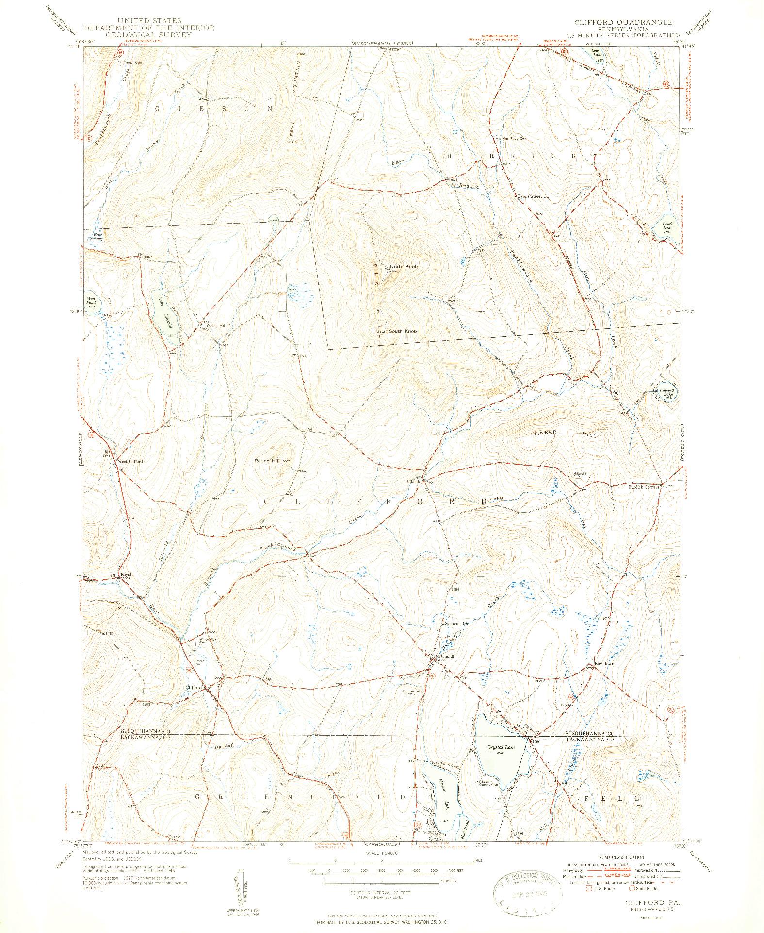 USGS 1:24000-SCALE QUADRANGLE FOR CLIFFORD, PA 1949