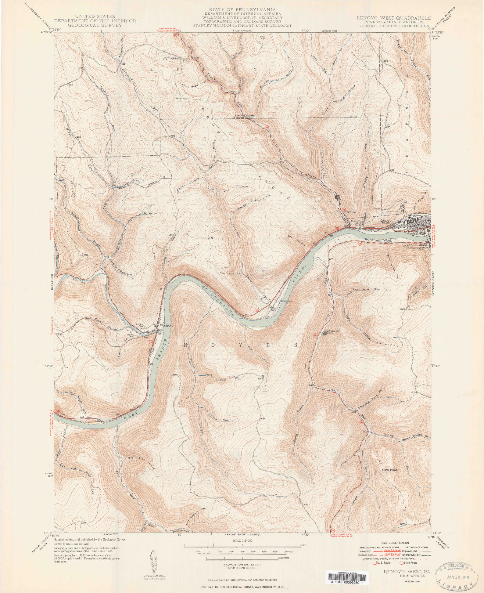 USGS 1:24000-SCALE QUADRANGLE FOR RENOVO WEST, PA 1949