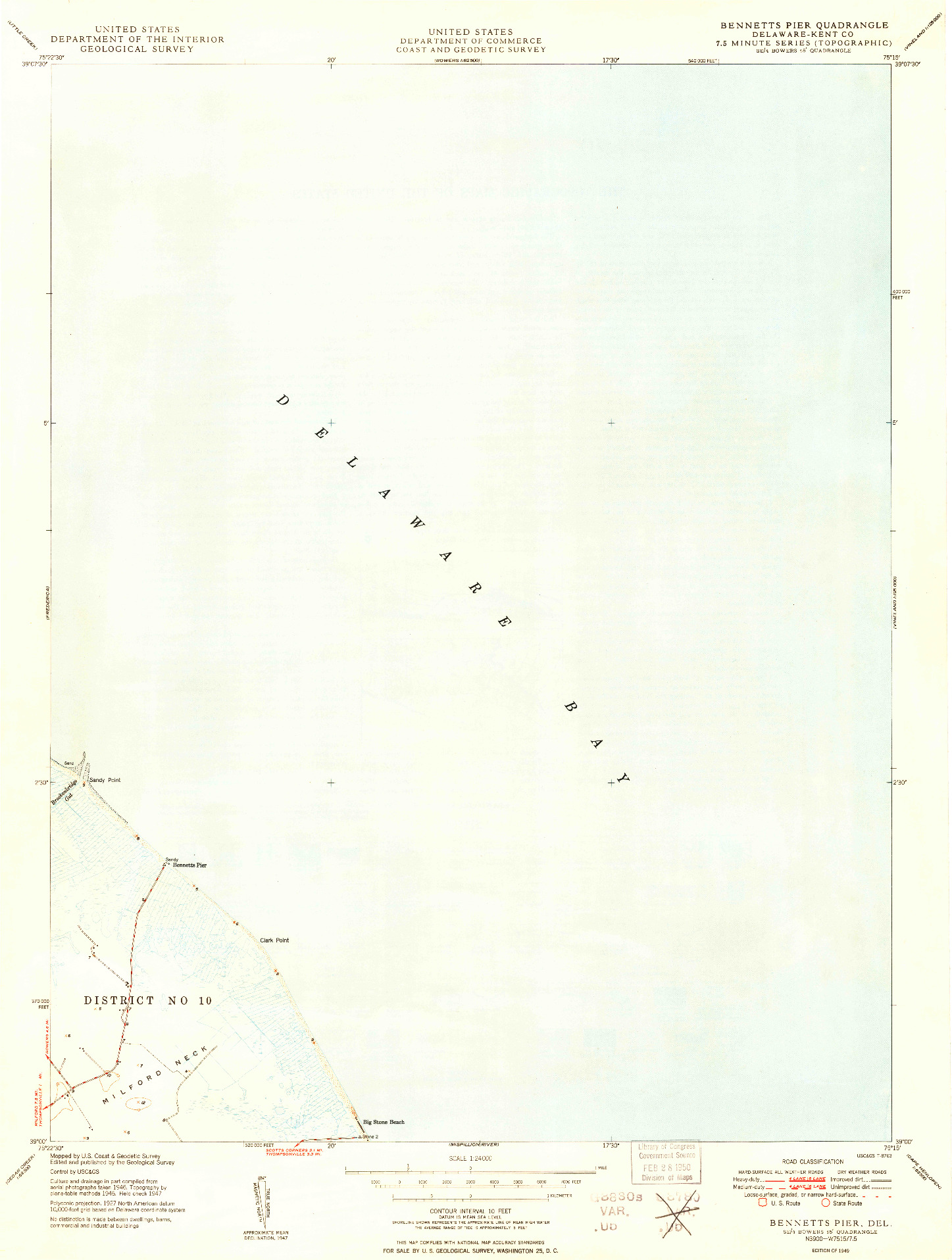 USGS 1:24000-SCALE QUADRANGLE FOR BENNETT'S PIER, DE 1949