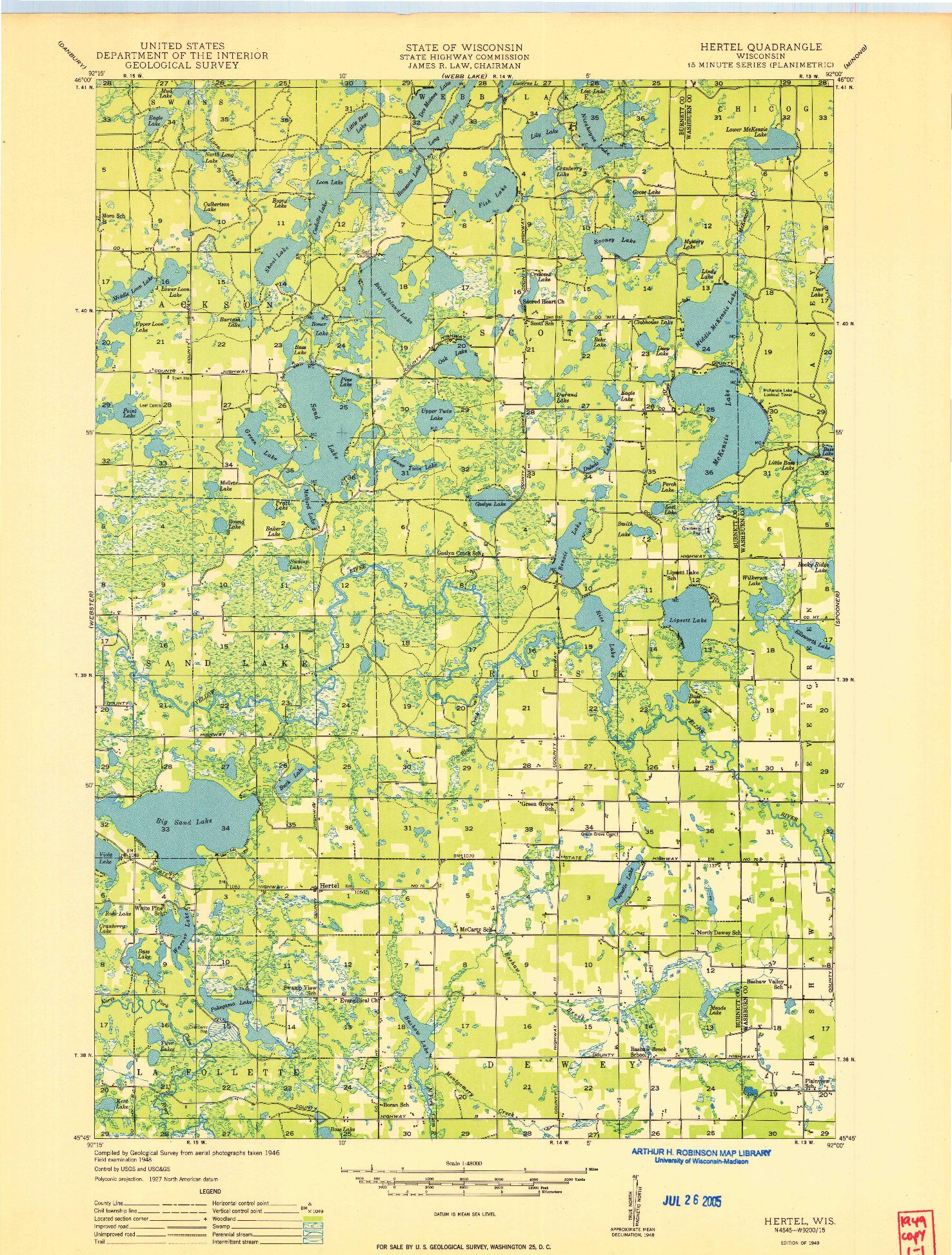 USGS 1:48000-SCALE QUADRANGLE FOR HERTEL, WI 1949